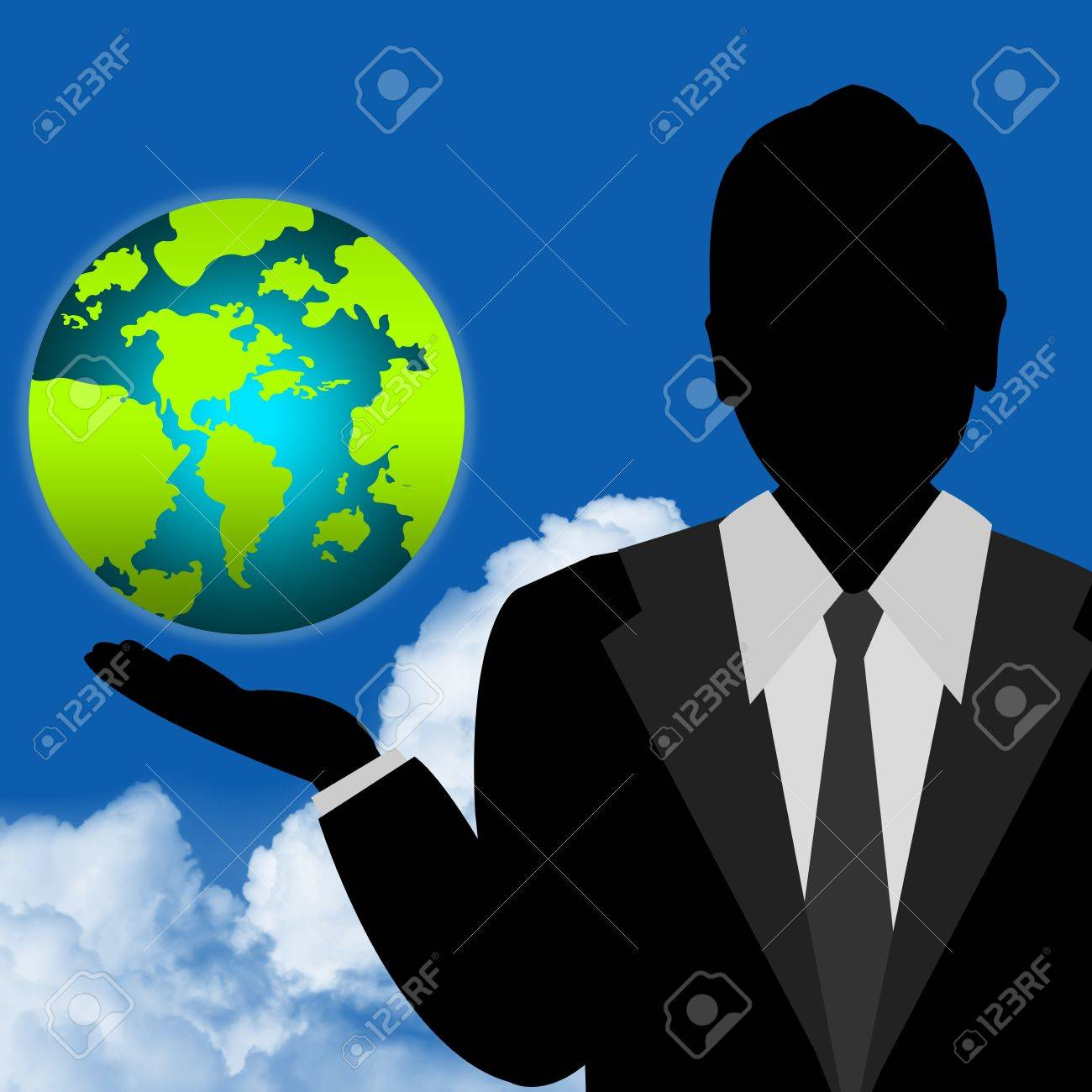 The Earth on Hand For Stop Global Warming or Save The Earth Concept With Blue Sky Background Stock Photo - 14686985