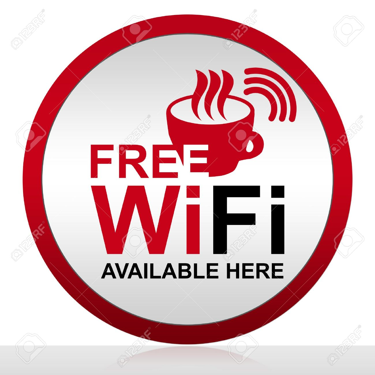 Circle Free Wifi Available Here With Glossy Style for Coffee Shop Isolated on White Background Stock Photo - 14768273