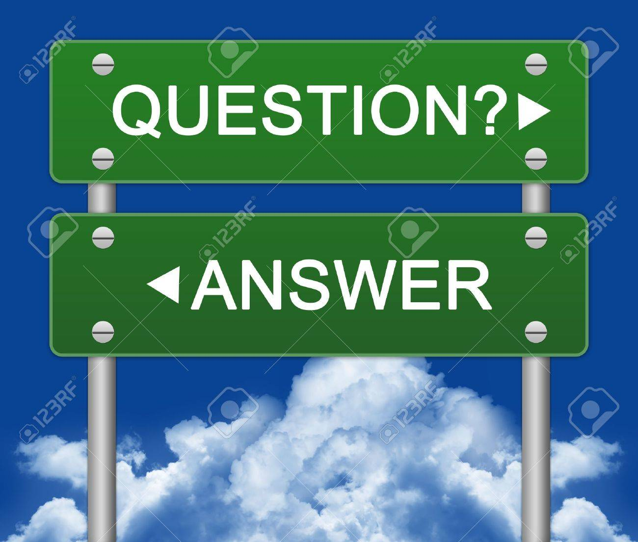 Question or Answer Street Sign With Blue Sky Background - 14768323