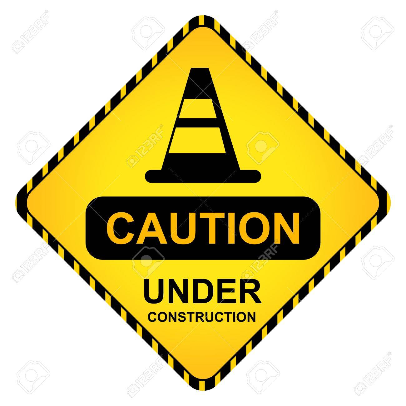 Yellow Caution Under Construction Traffic Sign With Traffic Cone Isolate on White Background Stock Photo - 14768308