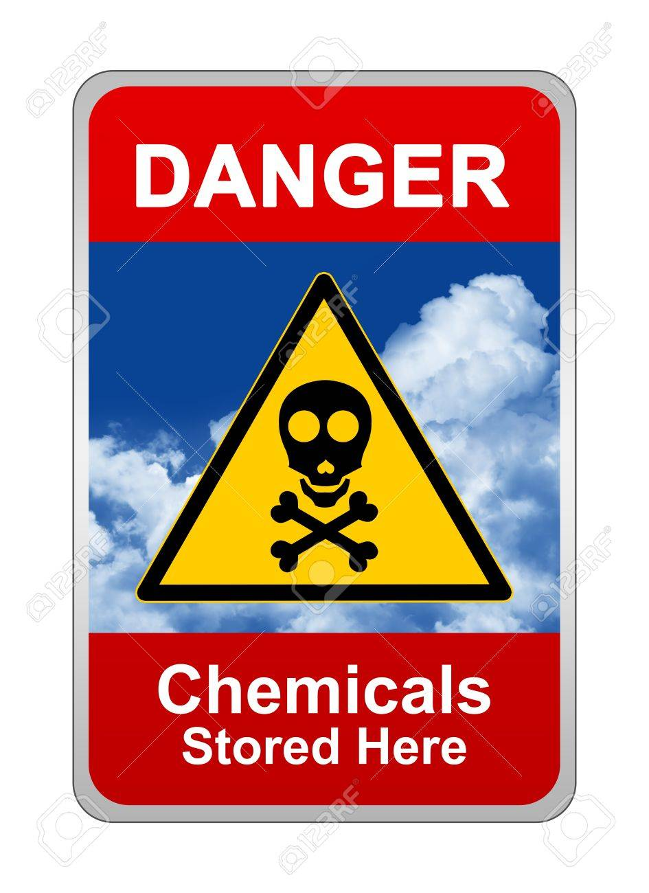 Caution Sign, Danger Chemicals Stored Here Stock Photo - 16711751