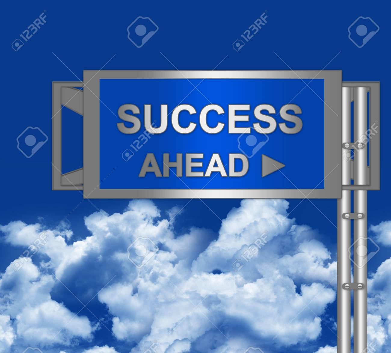 Success Ahead on Blue Highway Street Sign With Blue Sky Background Stock Photo - 16711776