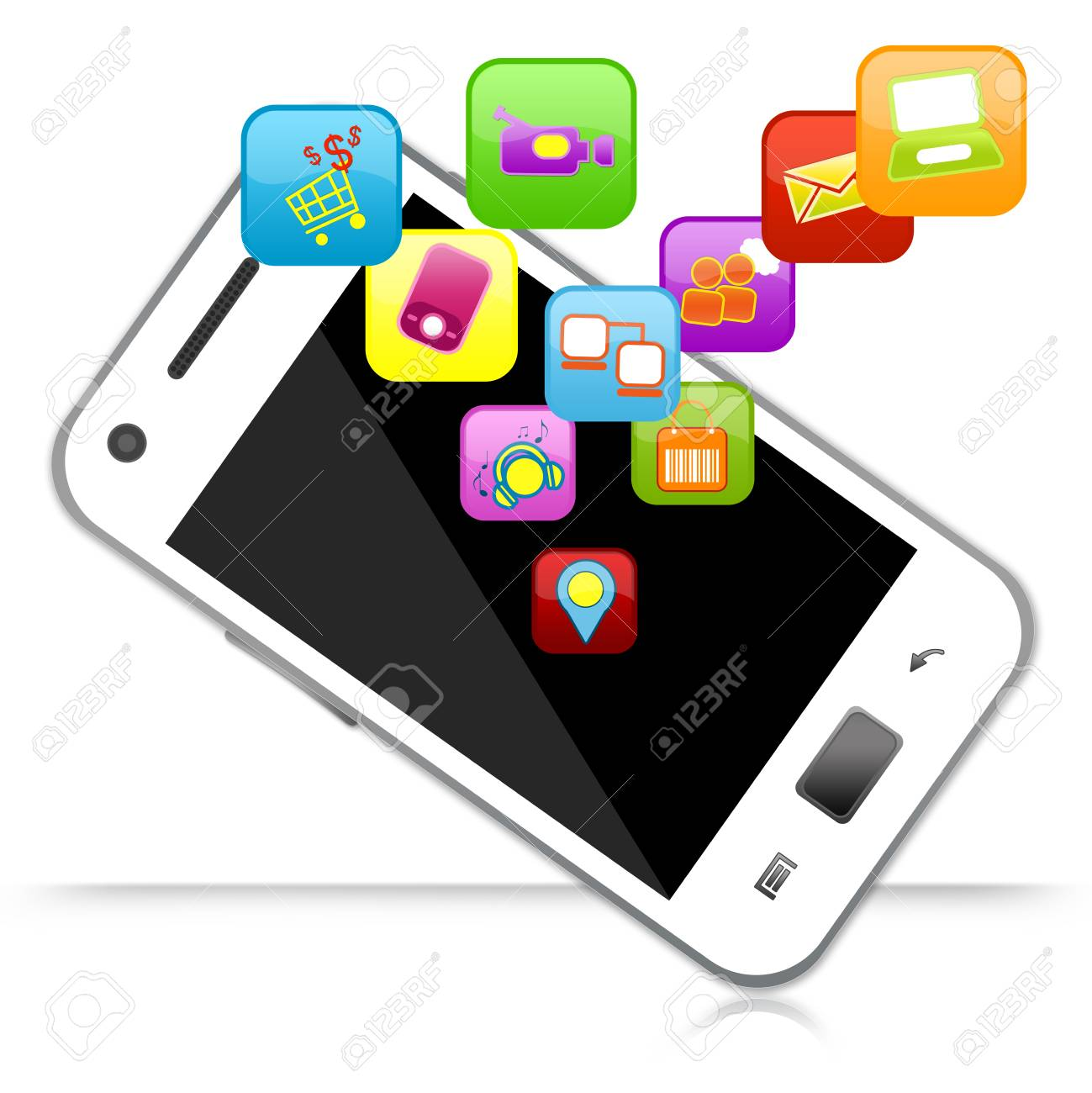 Smart Phone With Group of Colorful Social Icon for Social Network Concept Isolated on White Background Stock Photo - 17404265