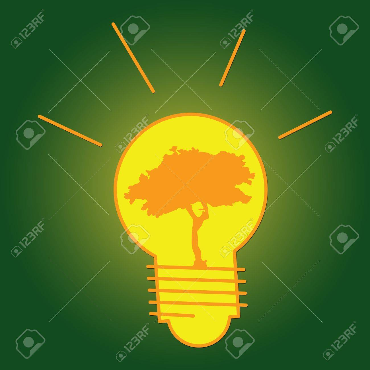 The Light Bulb With Tree Inside for Save The Earth or Stop Global Warming Campaign Stock Photo - 17404162