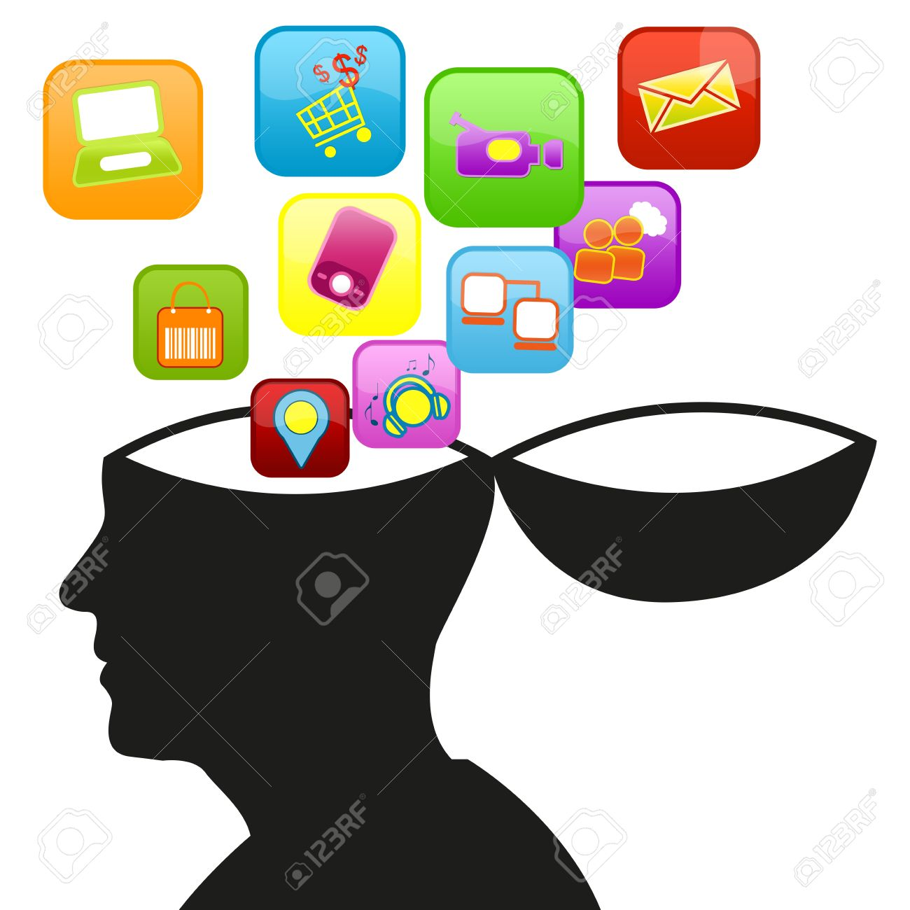 Social Media Concept Present With Open Head and Group of Social Media Icon Isolate on White Background Stock Photo - 17404186
