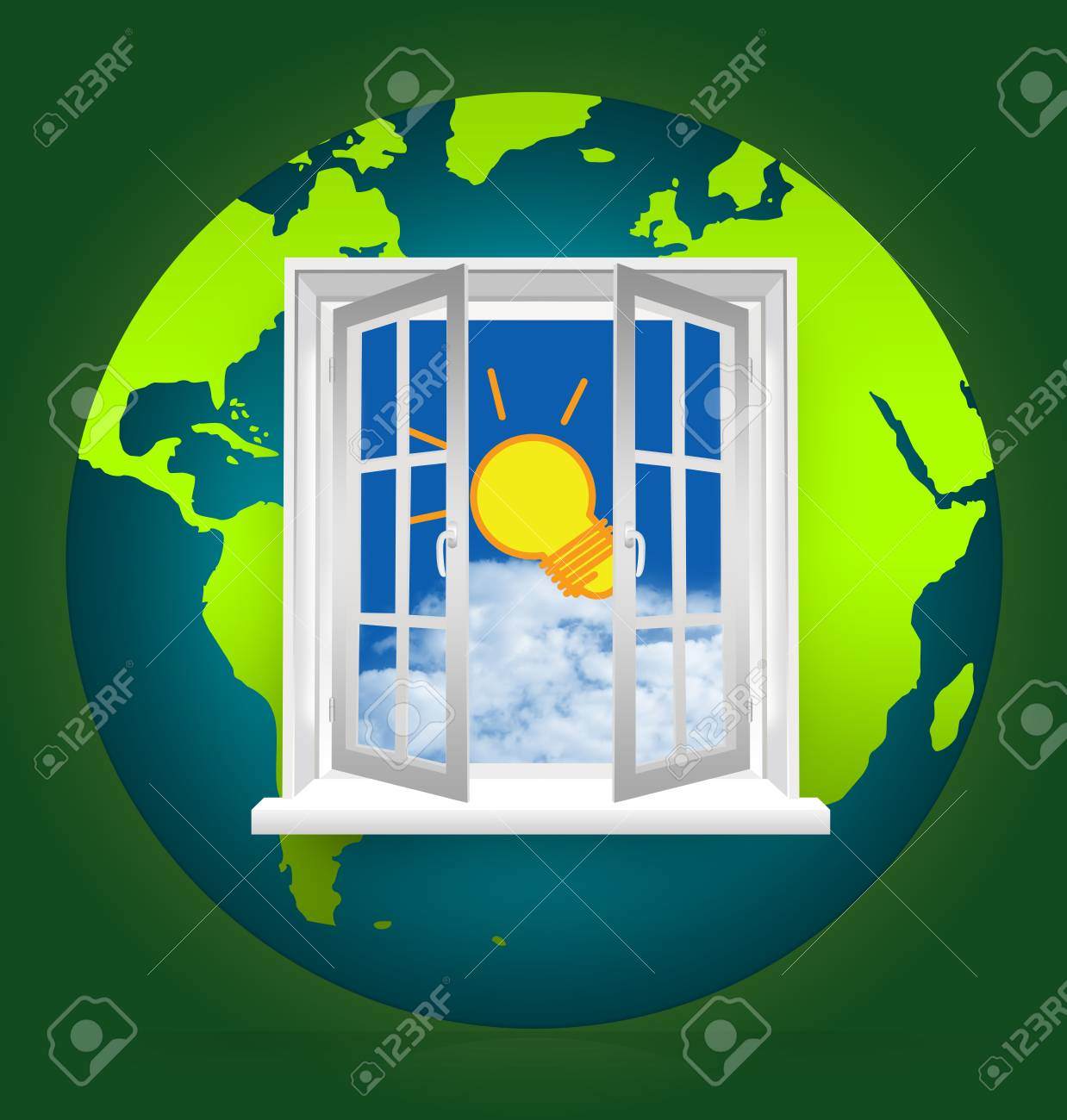 The Open Window to Blue Sky With The Light Bulb on The Earth for Idea Generated Concept Stock Photo - 17404307