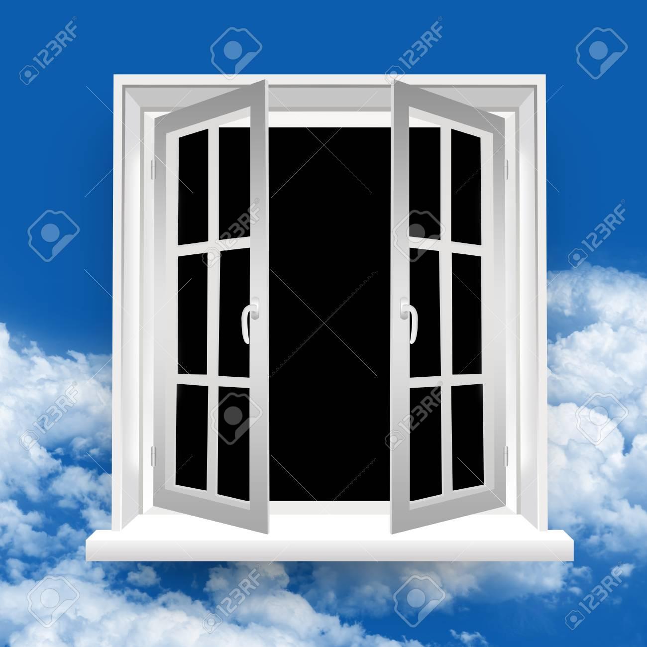 The Secret Open Window in Blue Sky Background Stock Photo - 17404502