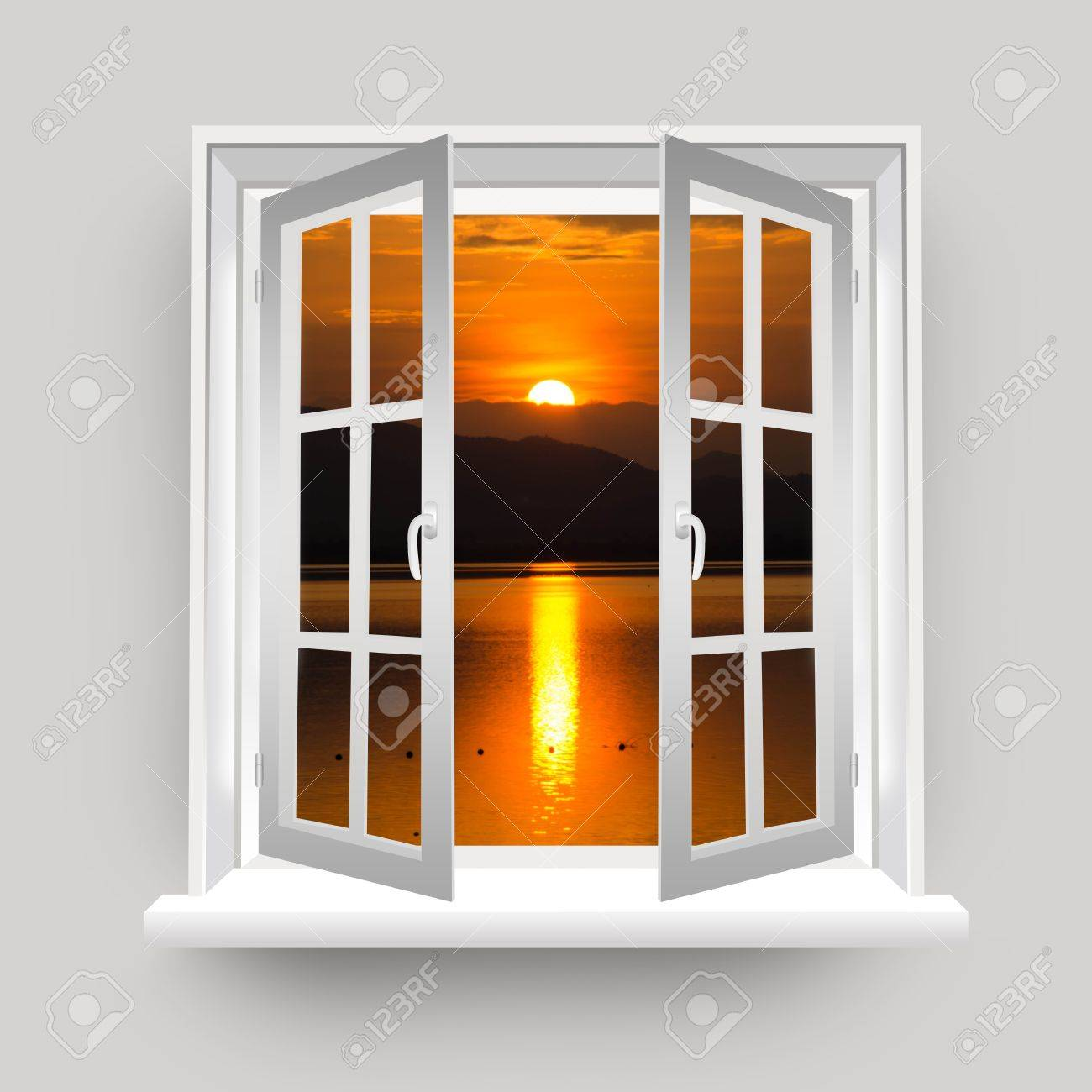 Open Window to The Lake View With Beautiful Sunset Stock Photo - 17404347