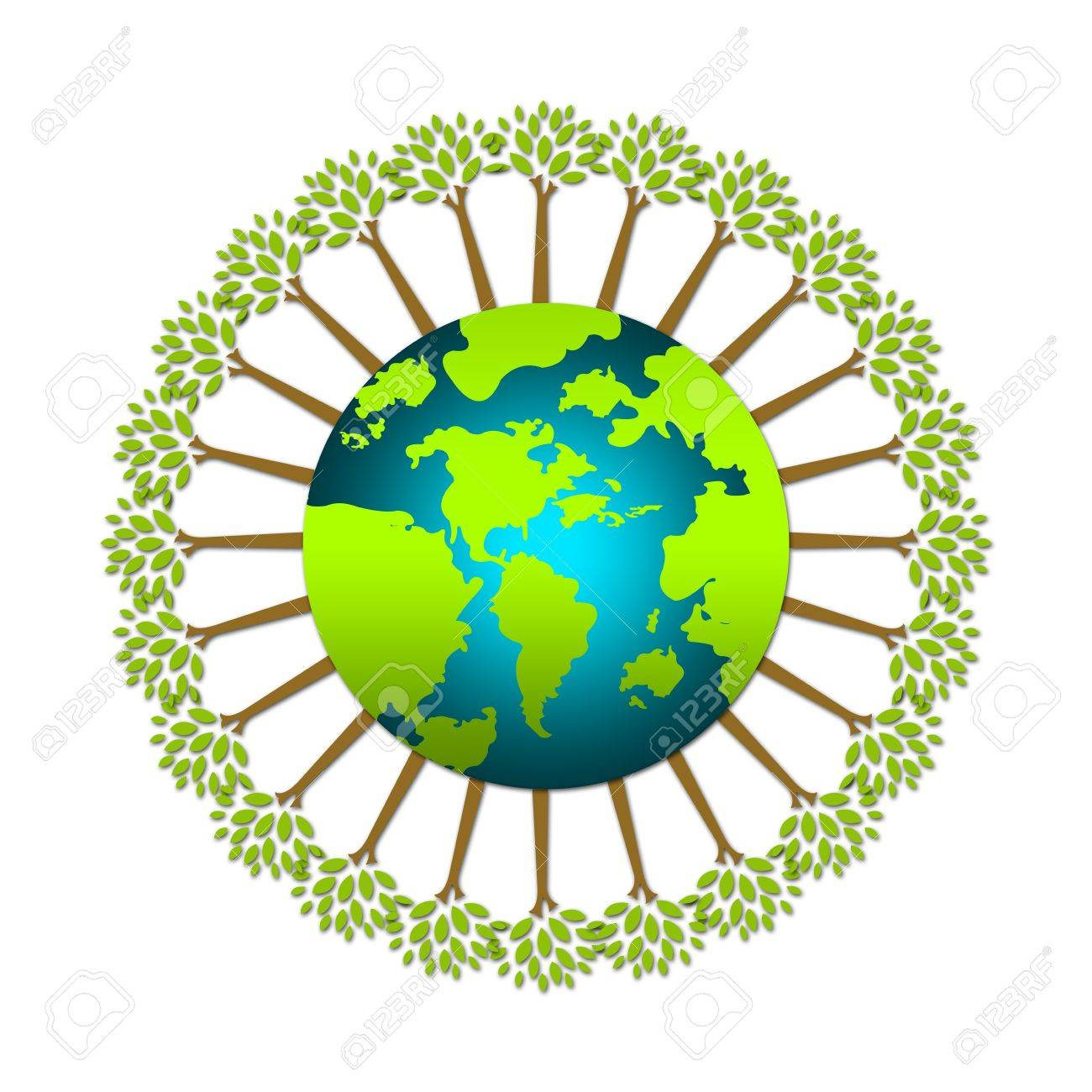The Green Tree Stand Around The World For Save The Earth Or Stop