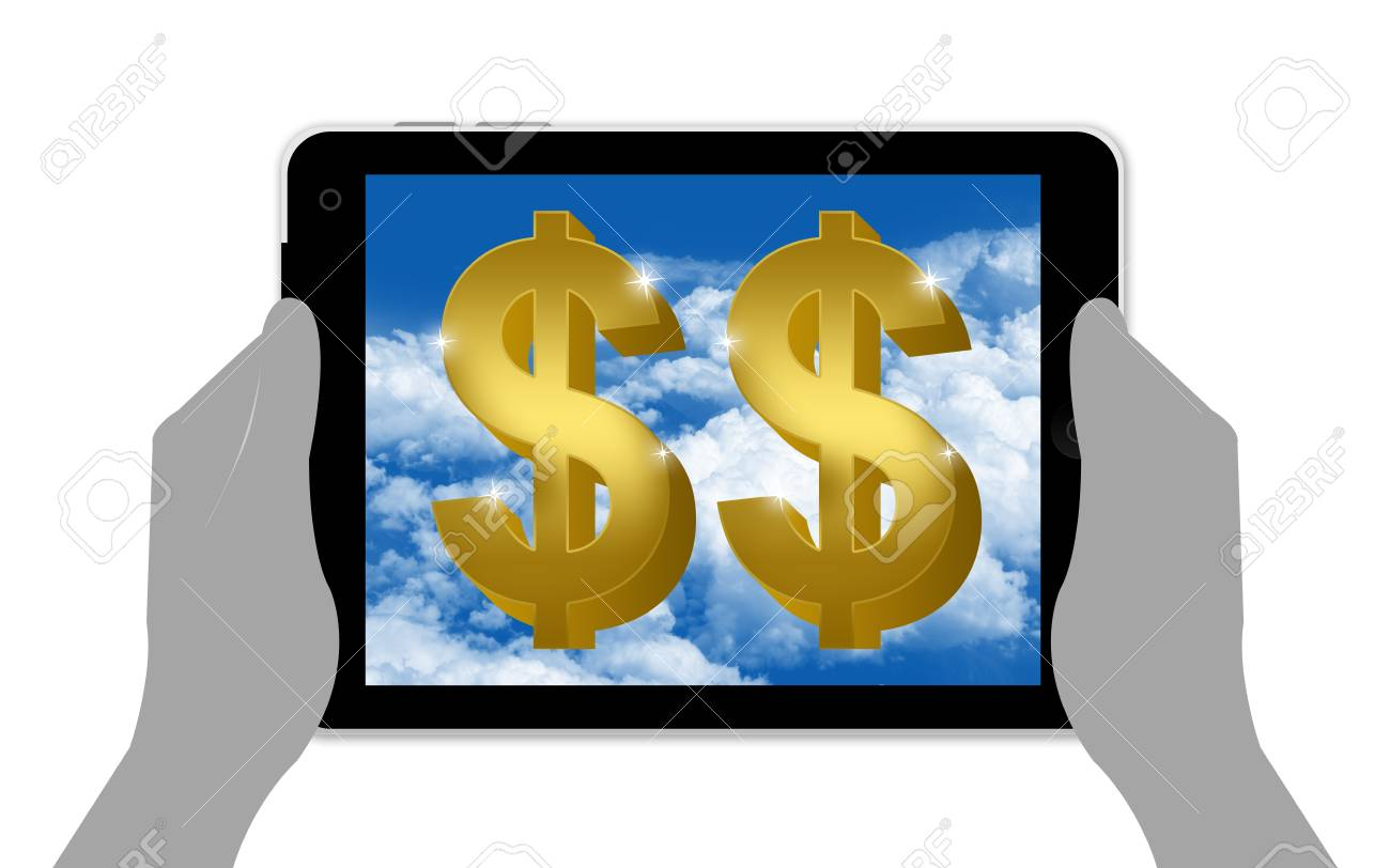 Internet and Online Business Concept, Present by Golden Dollar Sign in Tablet PC Isolated on White Background Stock Photo - 17404362