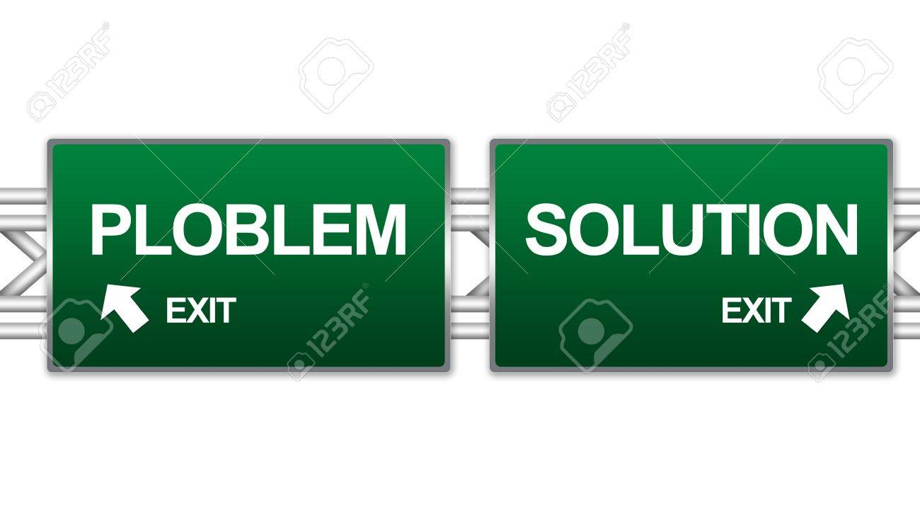 Two Choices Of Green Highway Street Sign Between Problem and Solution Sign For Business Concept Isolate on White Background Stock Photo - 17404348