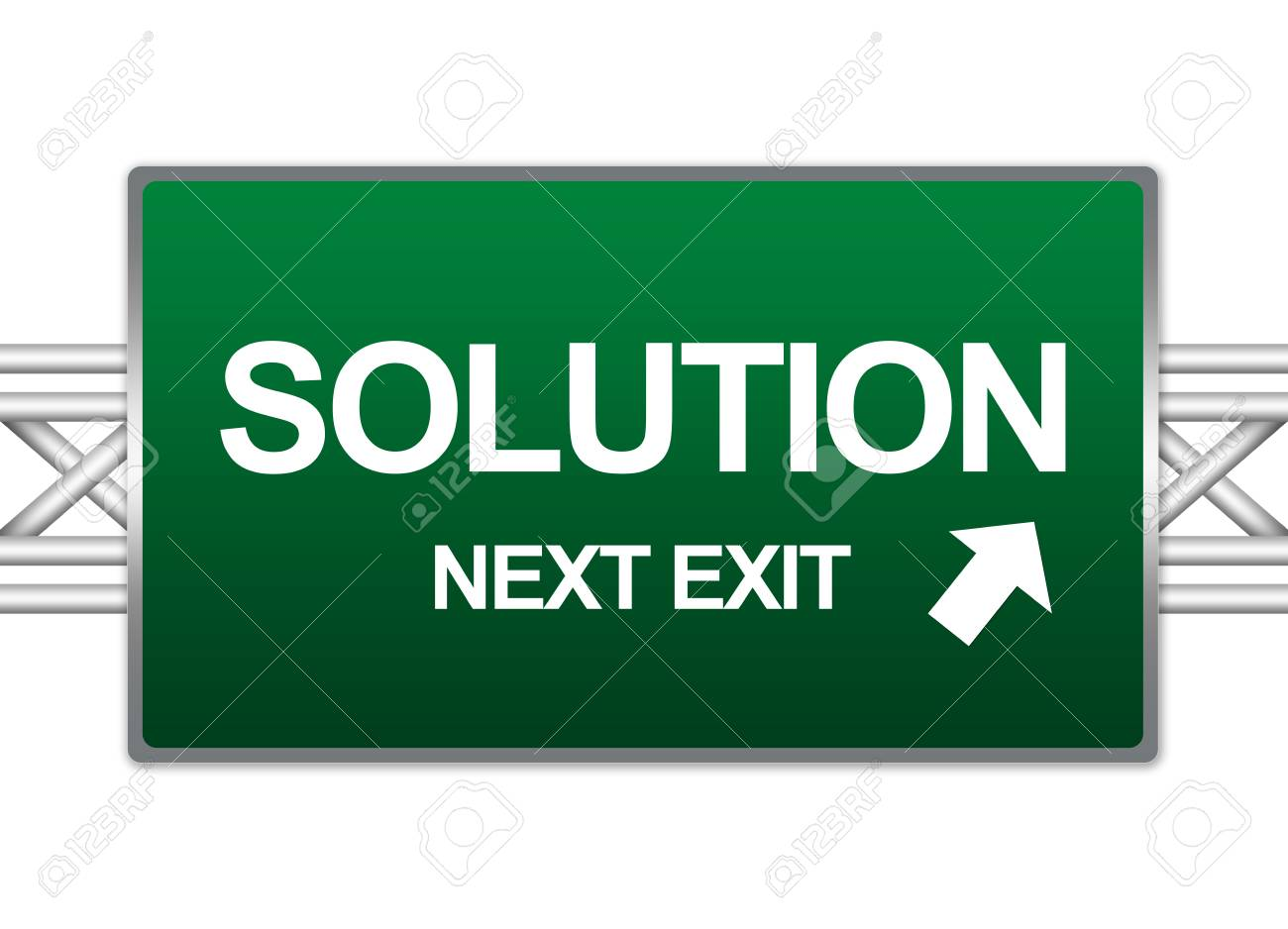 Green Highway Street Sign For Business Concept Present By Solution Next Exit Sign Isolate on White Background Stock Photo - 17404770