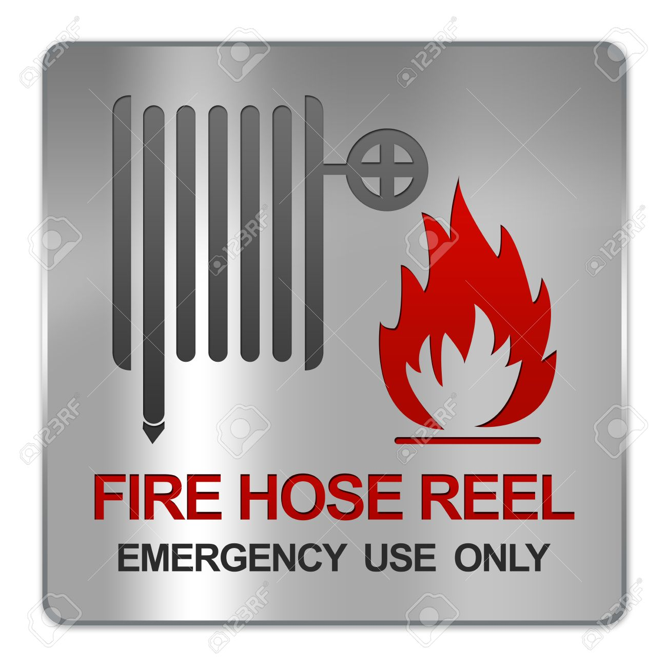 American Fire Hose And Cabinet Square Silver Metallic Plate For Fire Hose Reel Emergency Use