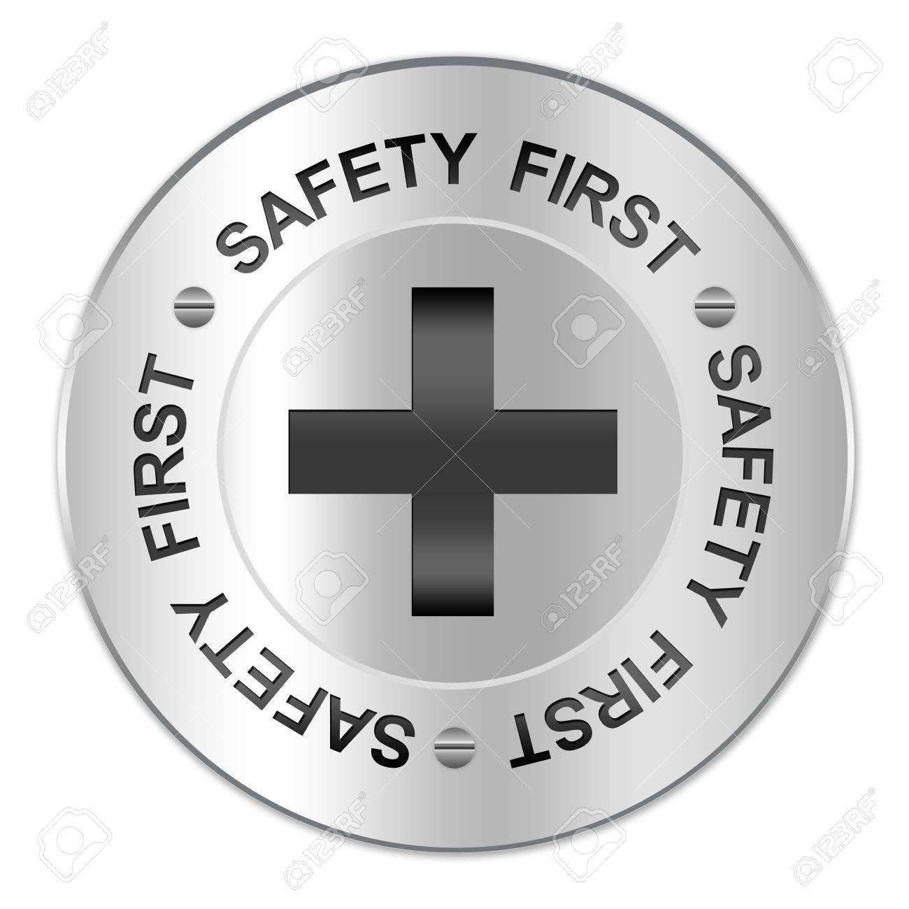 Circle Silver Metallic Plate For Safety First Sign With The Cross Inside Isolate on White Background Stock Photo - 17404793
