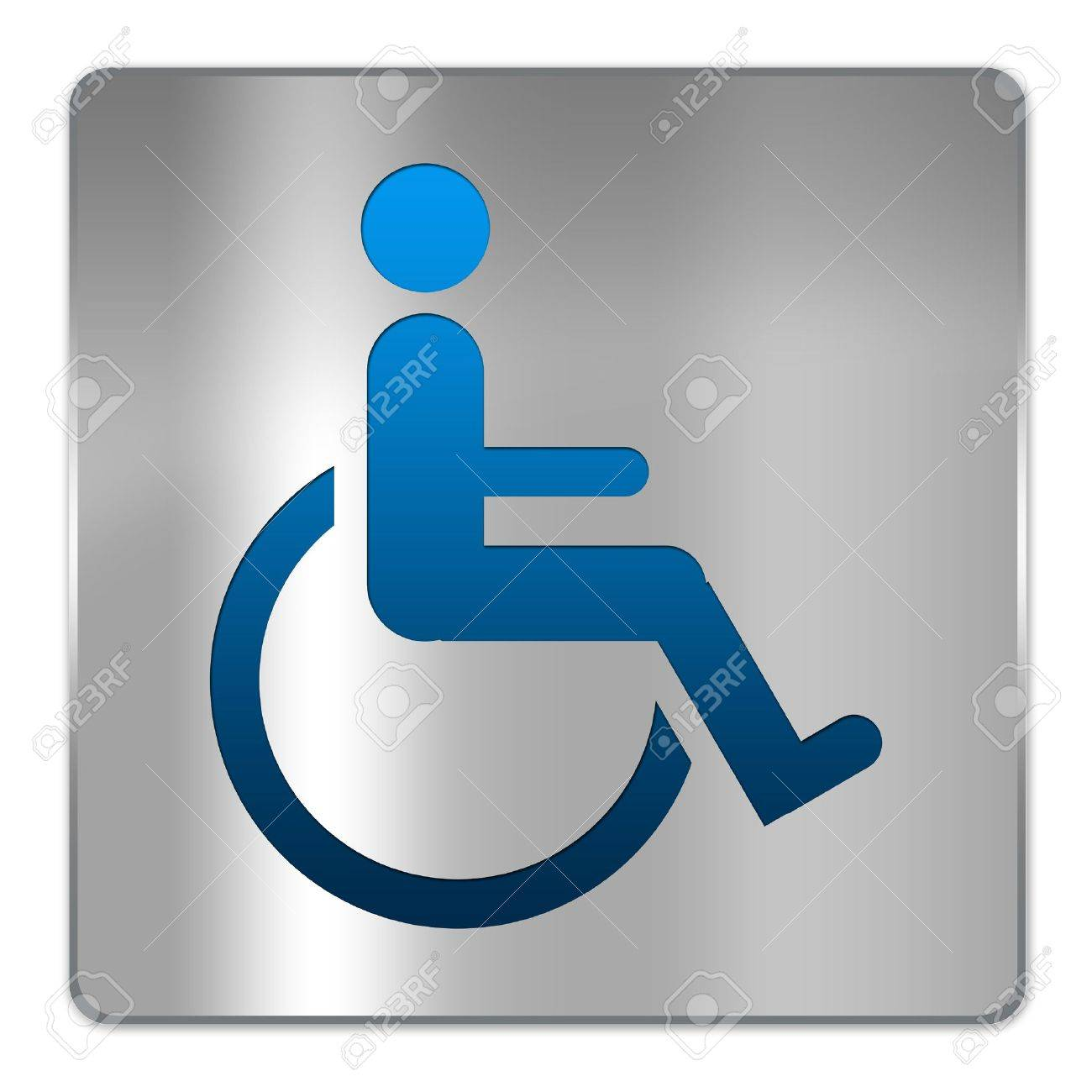 Bathroom Sign Handicap square silver metallic plate for wheelchair handicap toilet sign