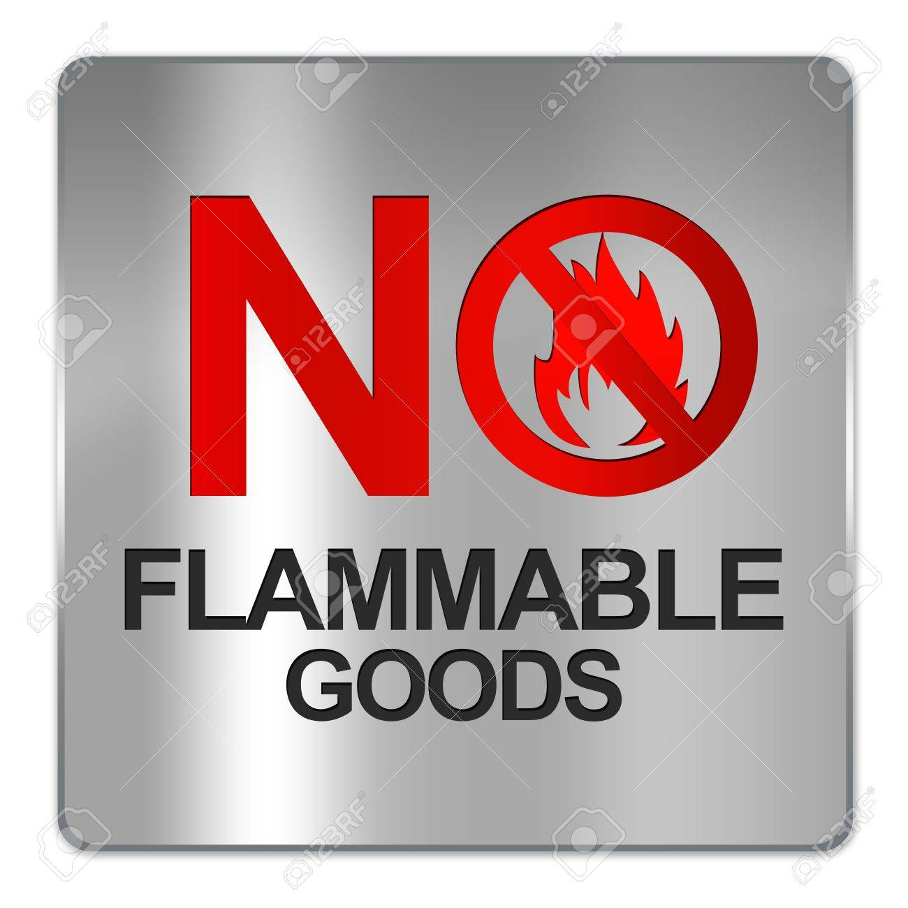 Square Silver Metallic Plate For No Flammable Goods Isolate on White Background Stock Photo - 17451779