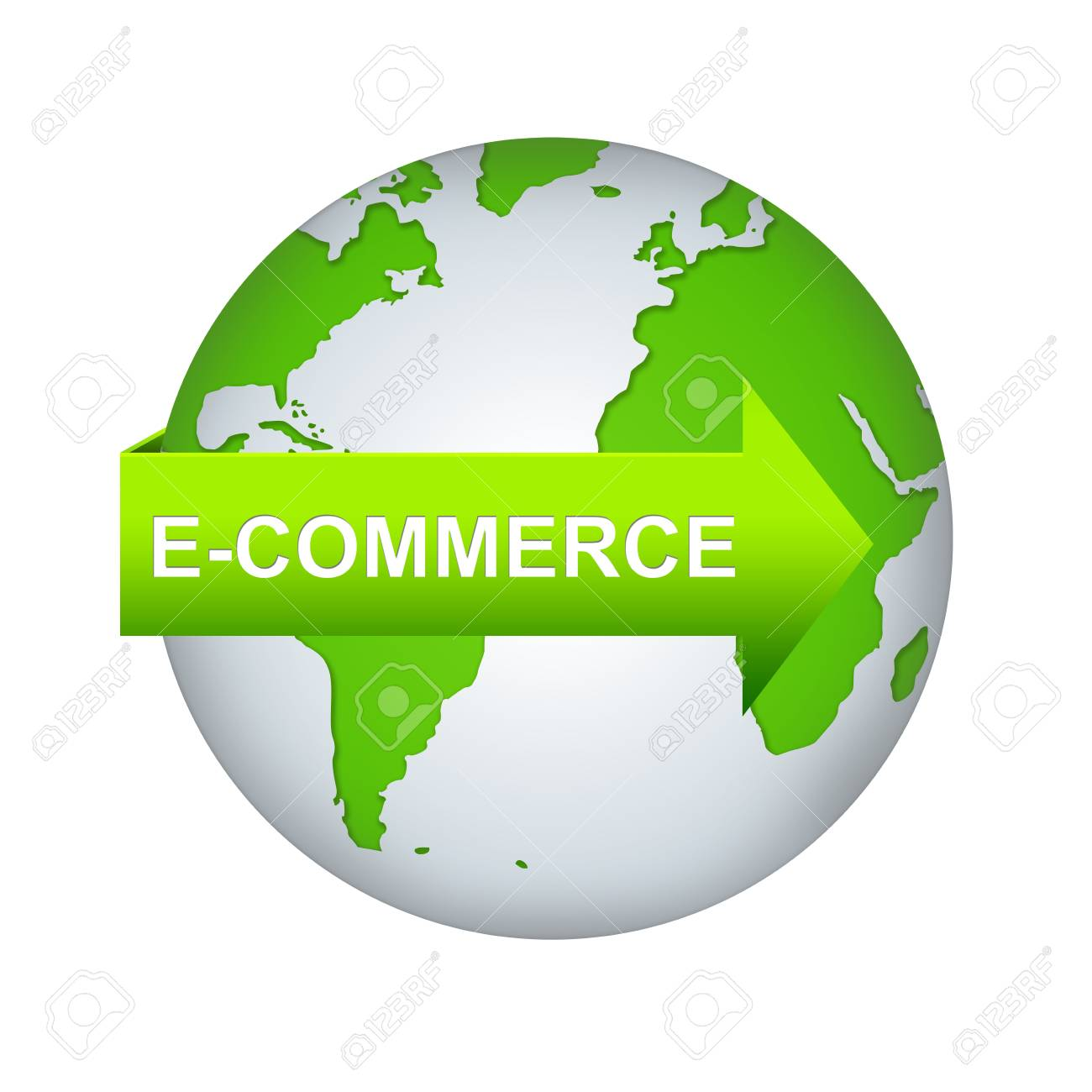 E-Commerce Concept Present By Green Earth With E-Commerce Arrow Isolated on White Background Stock Photo - 17452841