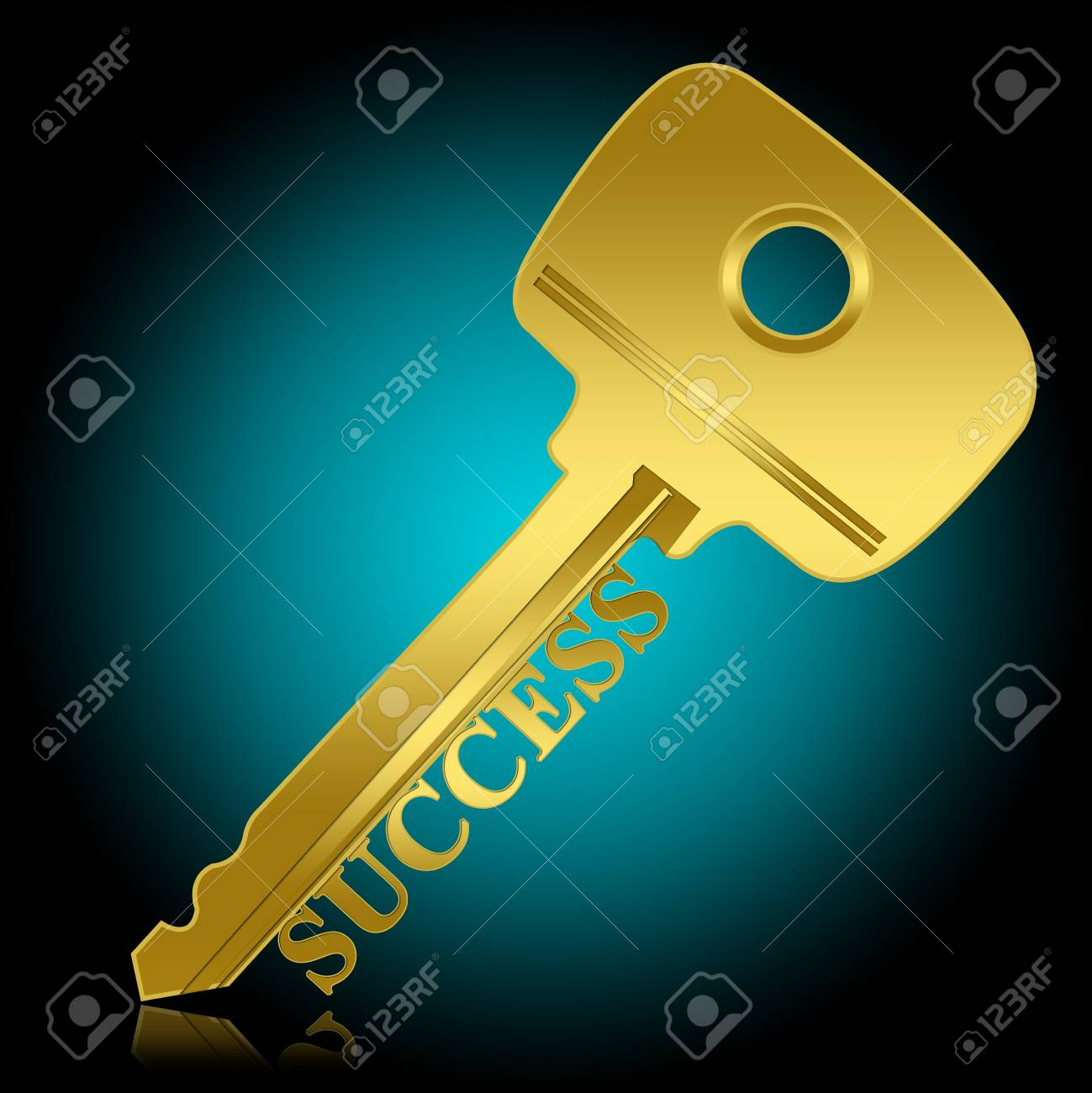Key to Success Concept, Present By The Golden Key With Success Text With Blue Glossy Style Background Stock Photo - 17452862