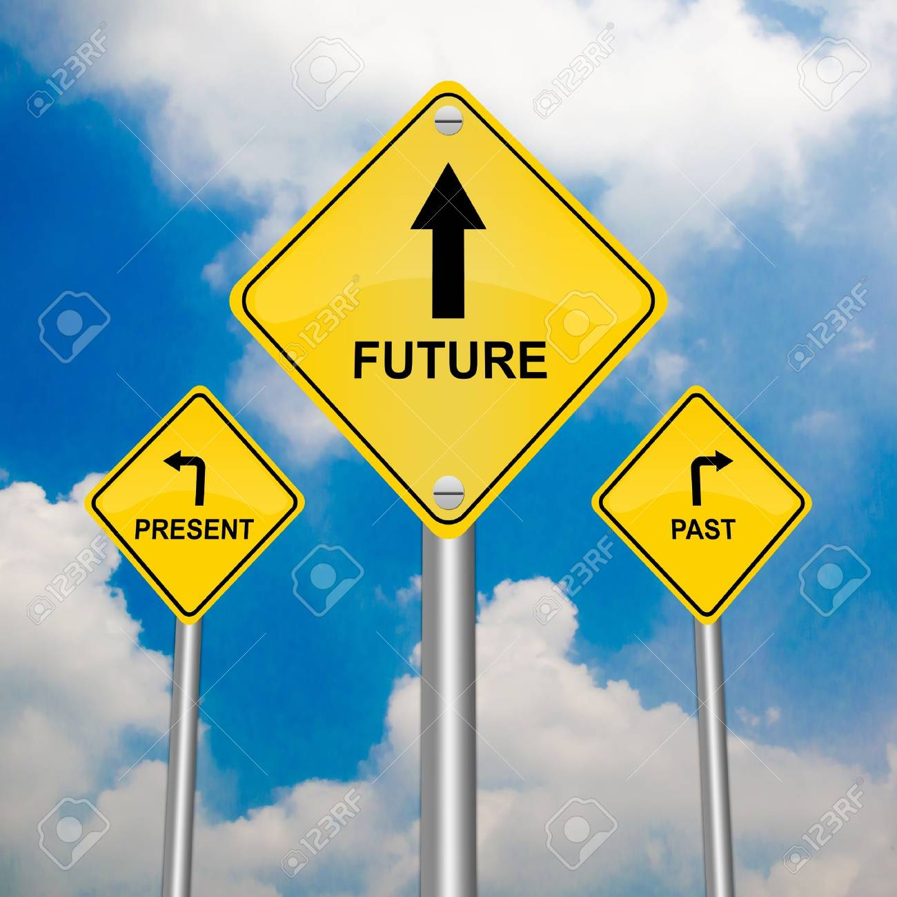 3 Choices of Yellow Street Sign Pointing to Future, Present and Past With Blue Sky Background Stock Photo - 17454985