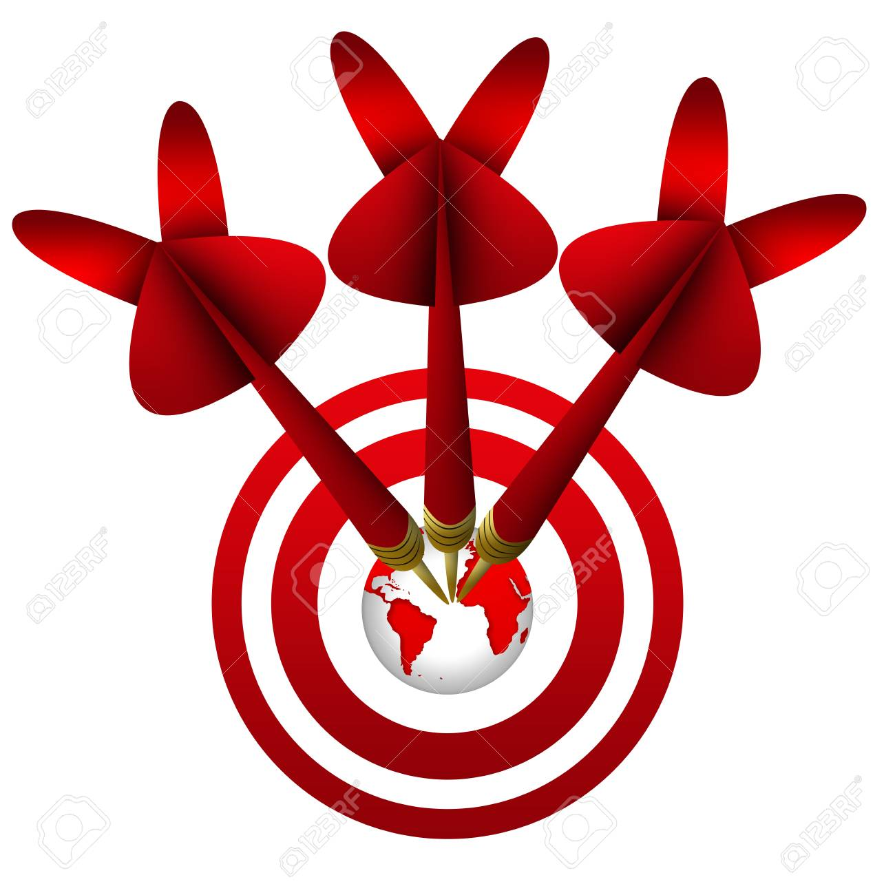 Business Concept, The Darts Hitting a Target Isolated on White Background Stock Photo - 17455058