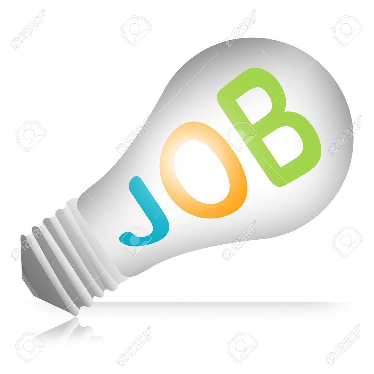 3d Light Bulb Job For Job Seeker Campaign Isolated on White Background Stock Photo - 17455064