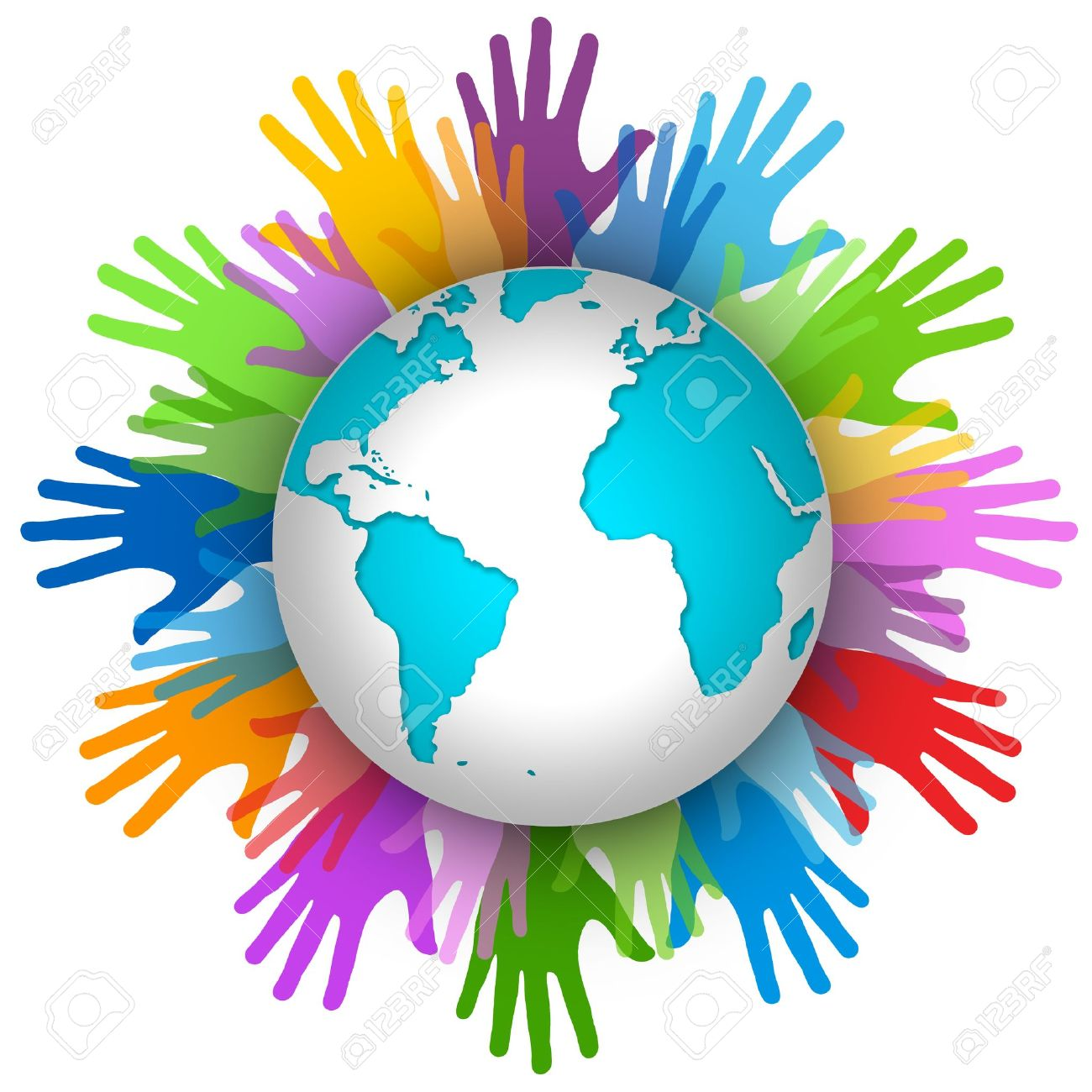 Volunteer Concept, Many Colorful Hand Around The World Isolated ...