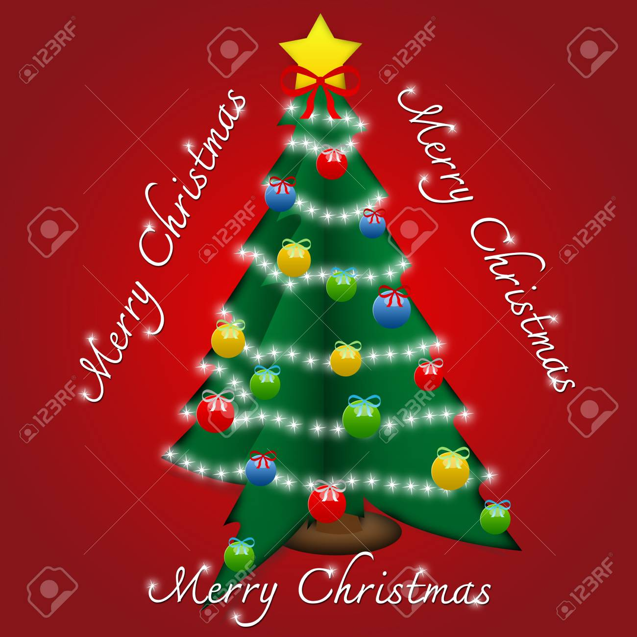 Beautiful Pop Up Merry Christmas Card With Christmas Tree And