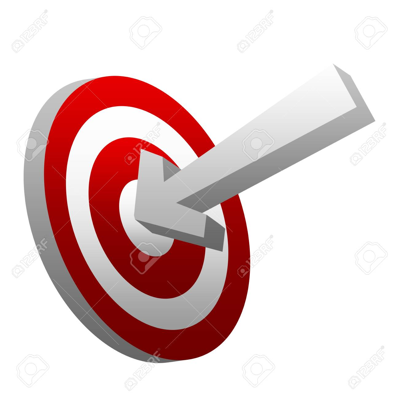 Business and Marketing Concept, 3d Arrow Hitting a Target Isolated on White Background Stock Photo - 17454988
