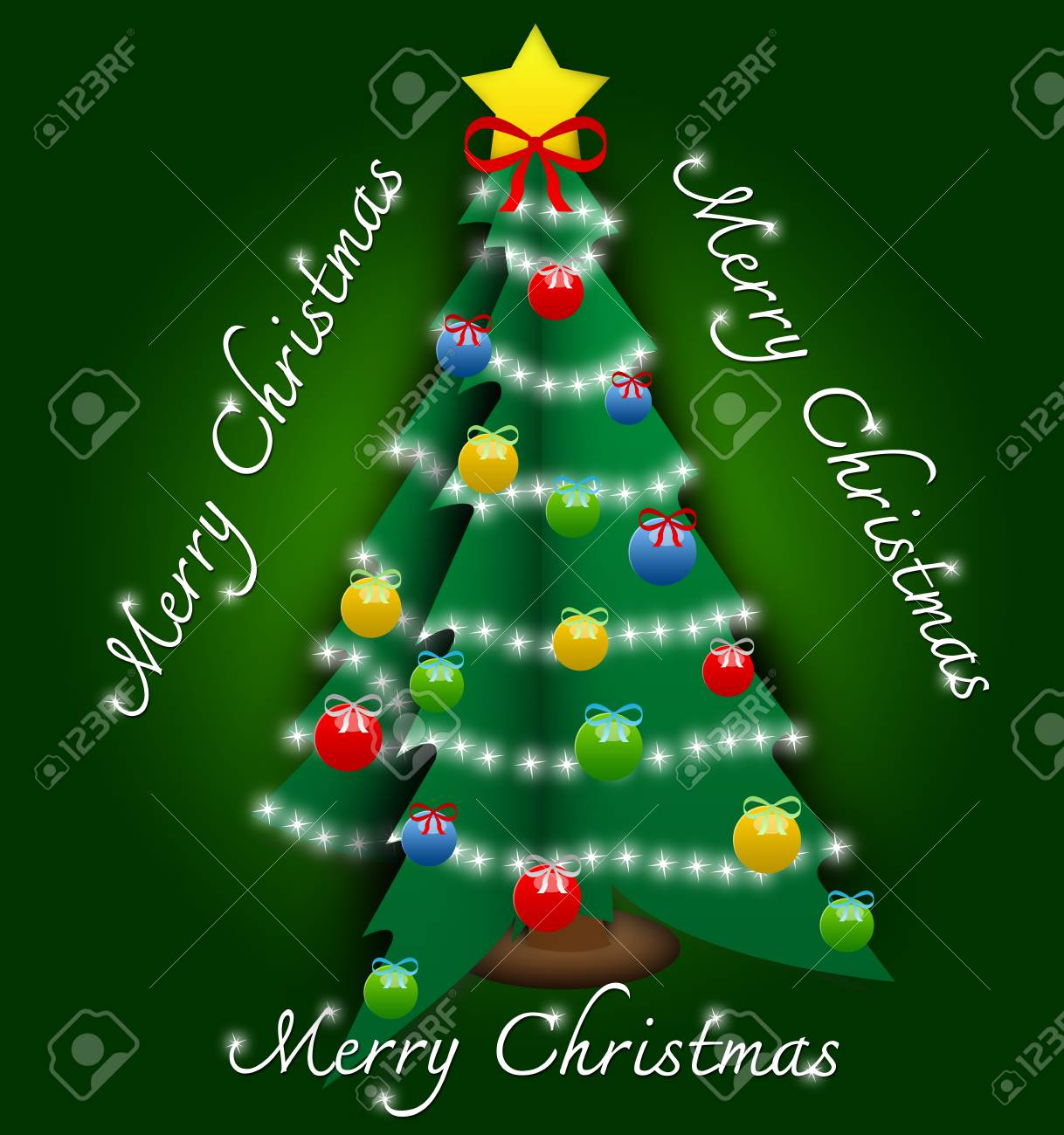 Pop Up Merry Christmas Card With Christmas Tree And Ornament Stock