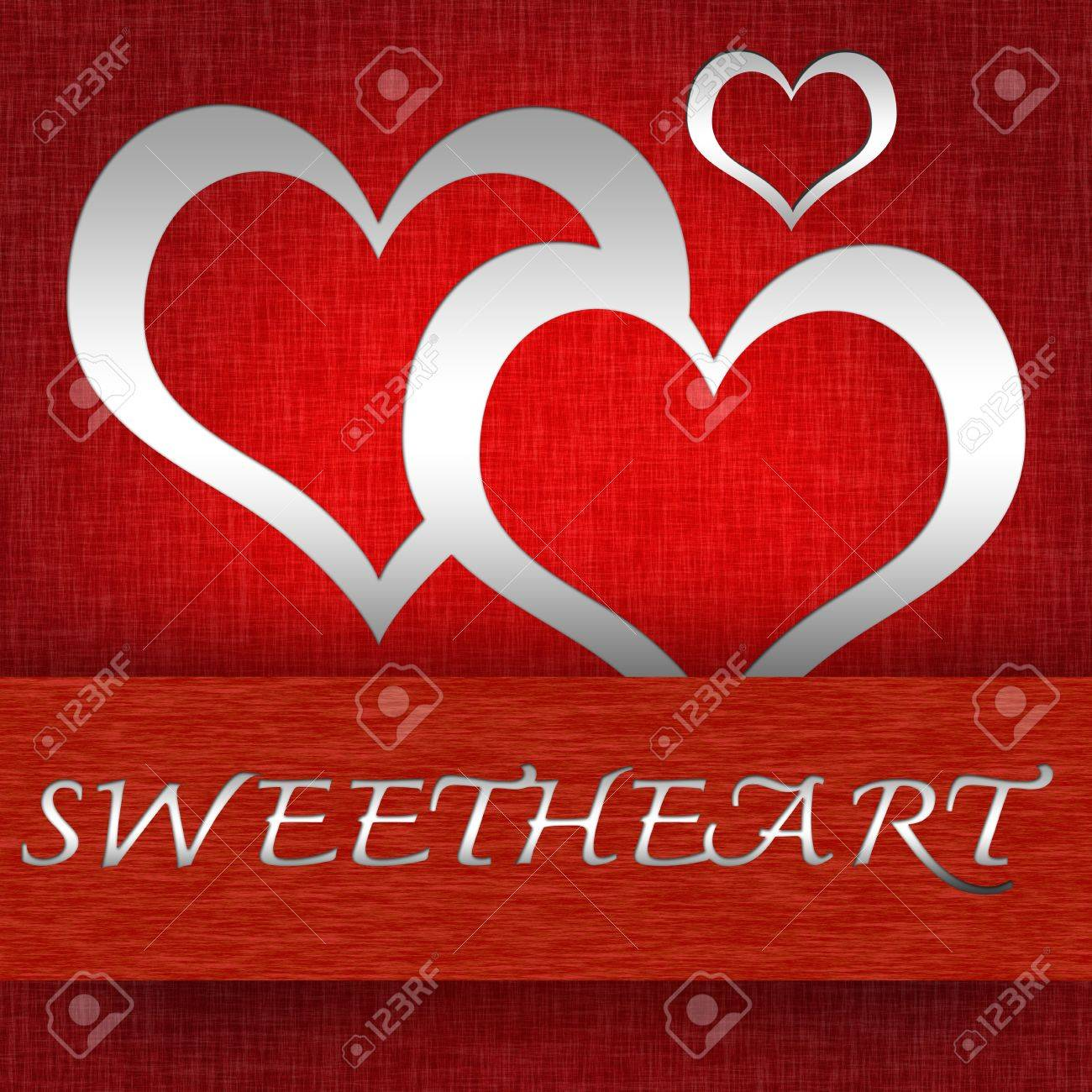 Romantic Pop Up Card With Silver Heart and Sweetheart Text on Red Grunge Background Stock Photo - 17455132