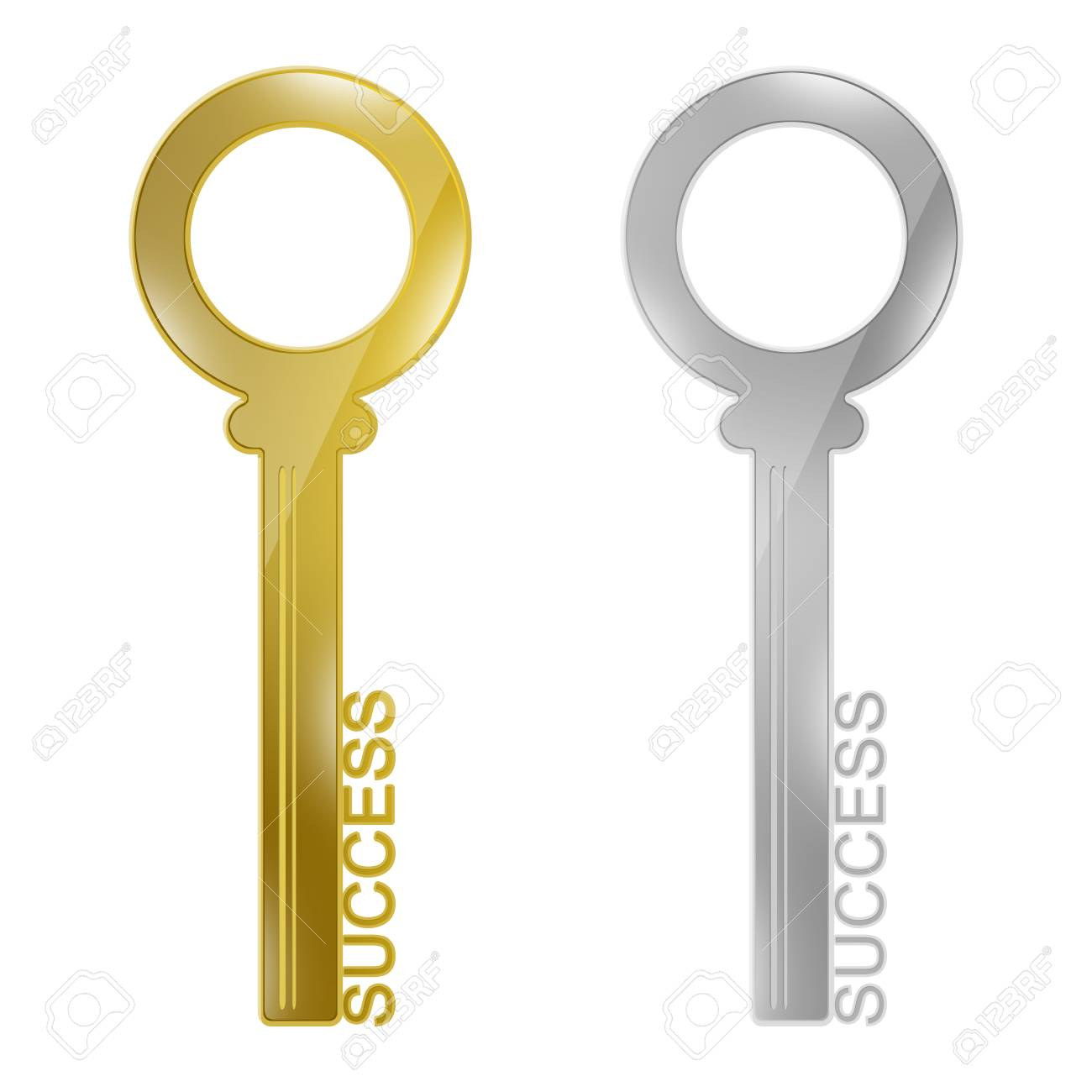 Key to Success Concept, Present By The Golden and Silver Key With Success Text Isolated on White Background Stock Photo - 17455019