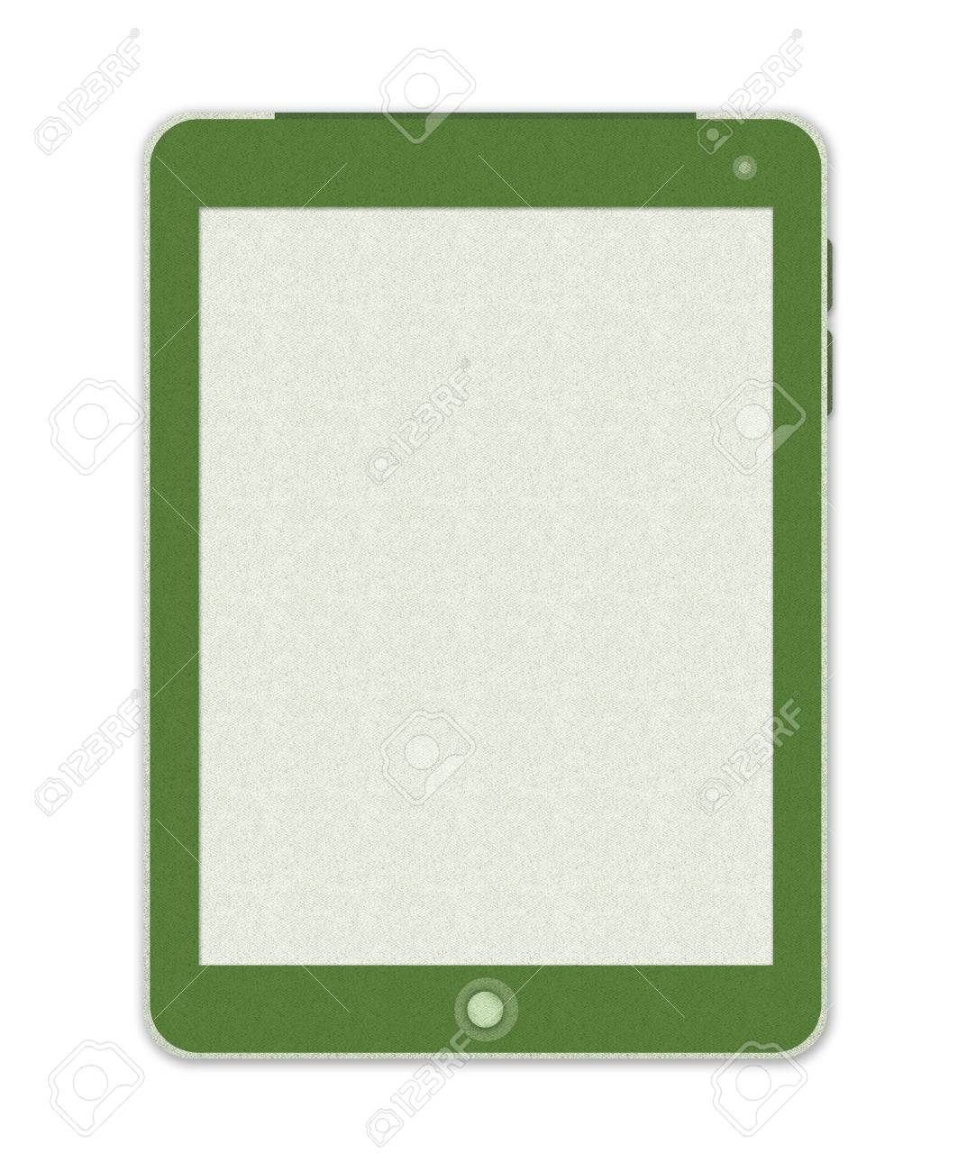 Green Tablet PC Made From Recycle Paper With Blank Screen Isolate on White Background Stock Photo - 17509935