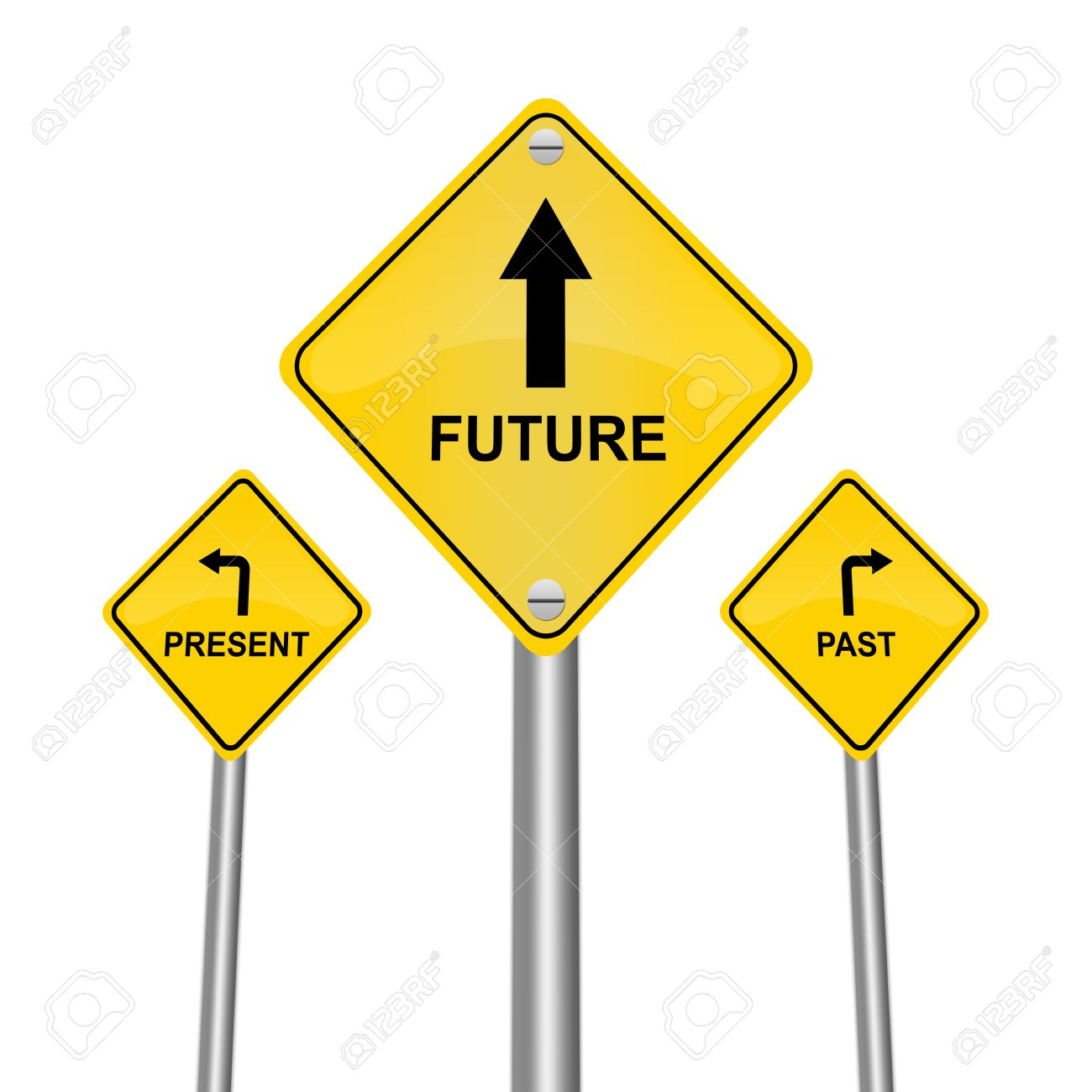 Yellow Street Sign Pointing to Future, Present and Past Isolated on White Background Stock Photo - 17509885