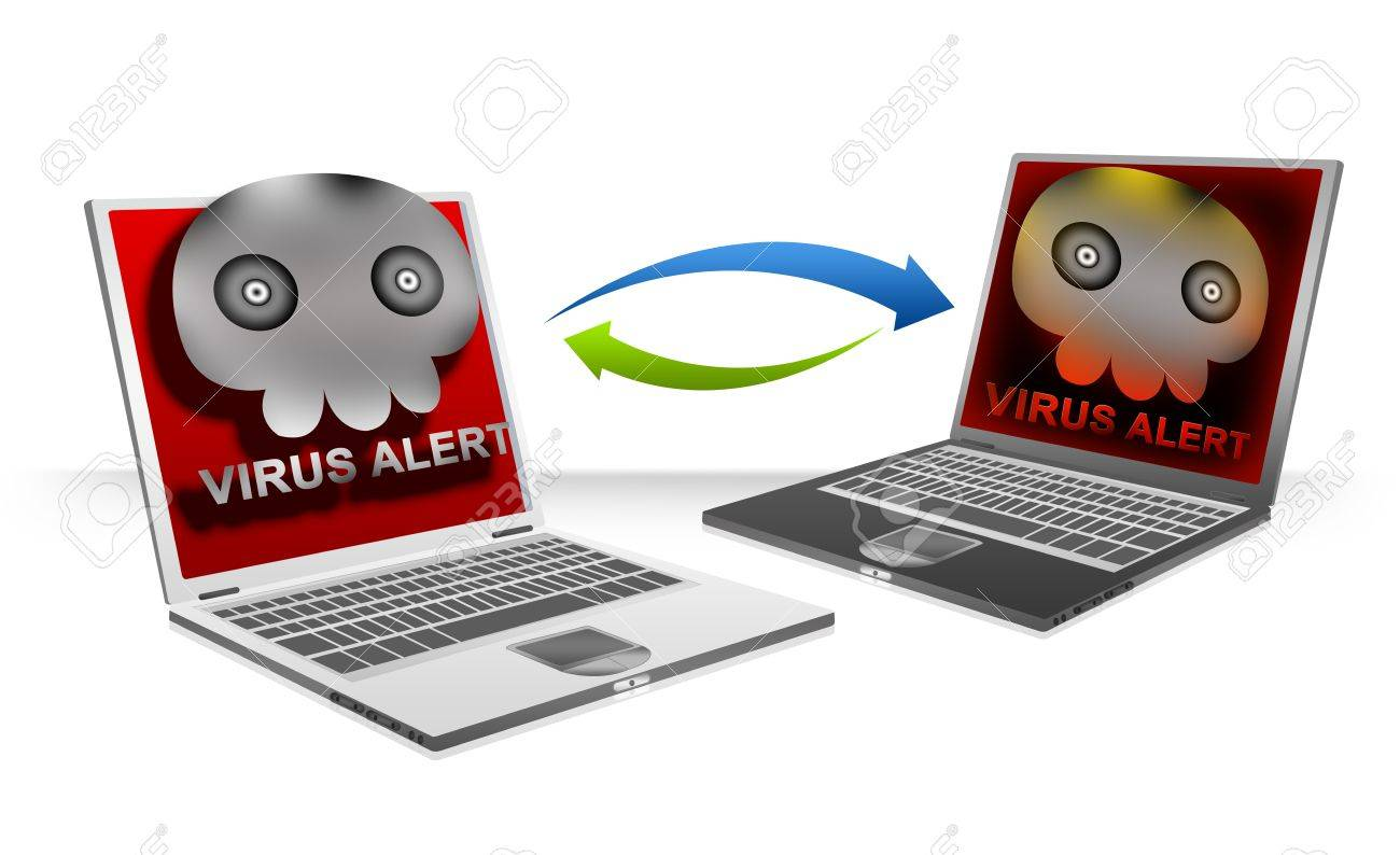 Computer Virus Concept Present By Computer Laptop Connected By Peer To Peer, The Infected Computer Laptop Transfer Computer Viruses Attach in Email Isolated on White Background Stock Photo - 17510006