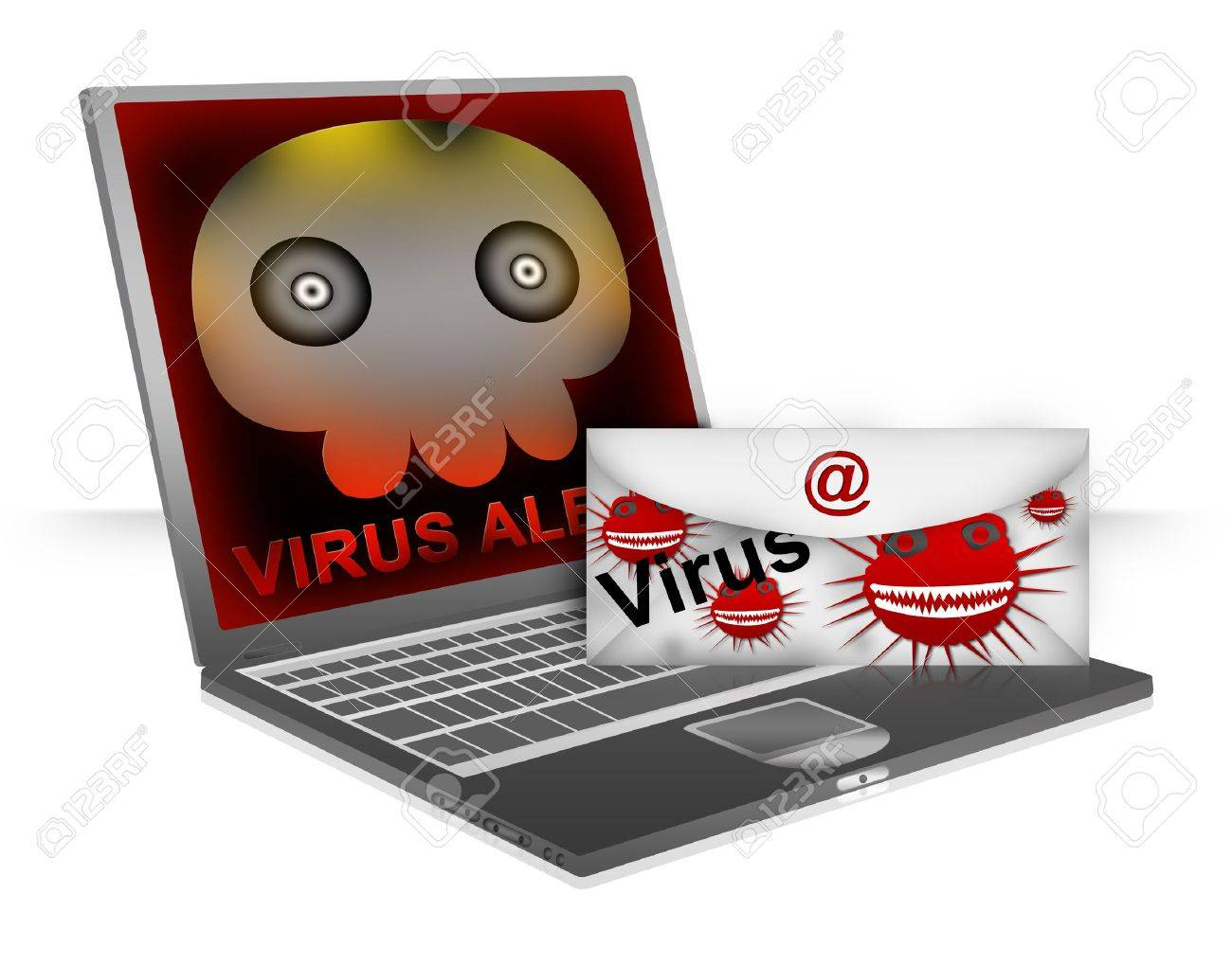 Computer Virus Concept Present By Email With Computer Viruses