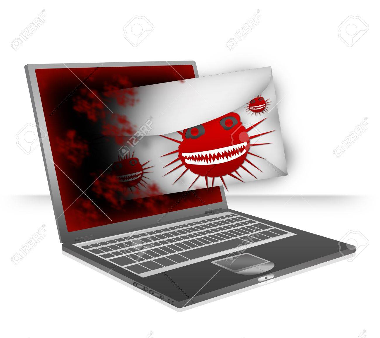 Computer Virus Concept Present By Computer Notebook Attacking ...