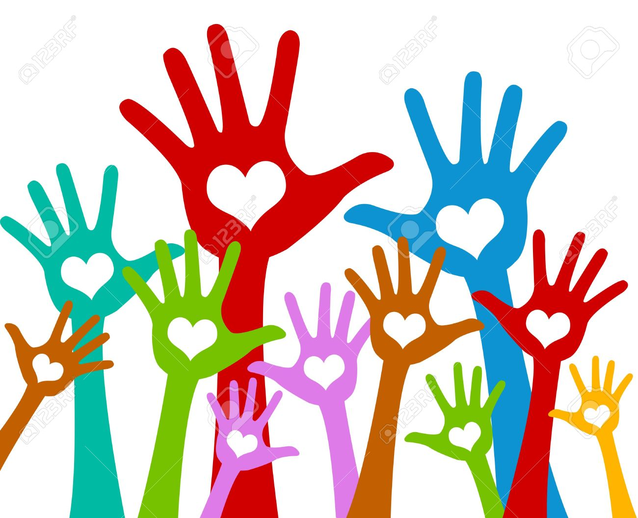 The Colorful Raised Hands With Heart For Volunteer and Voting Concept Isolated On White Background - 17509973