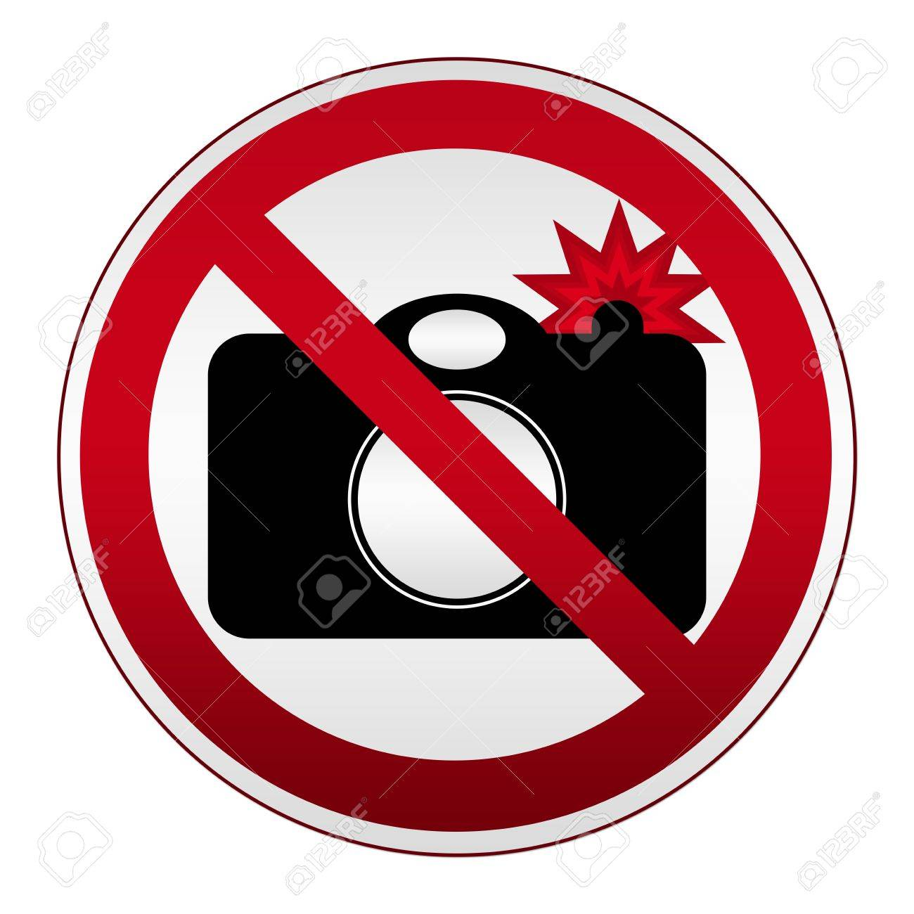 Prohibited Circle Silver Metallic No Photography With Flash Sign Isolated on White Background Stock Photo - 17607655