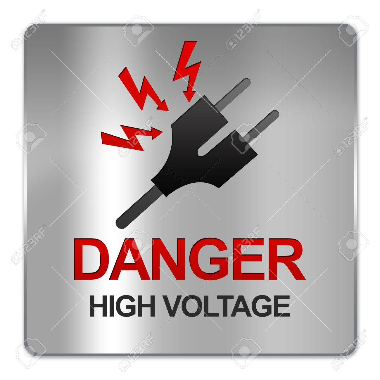 Square Silver Metallic Plate For Danger High Voltage Sign With ...