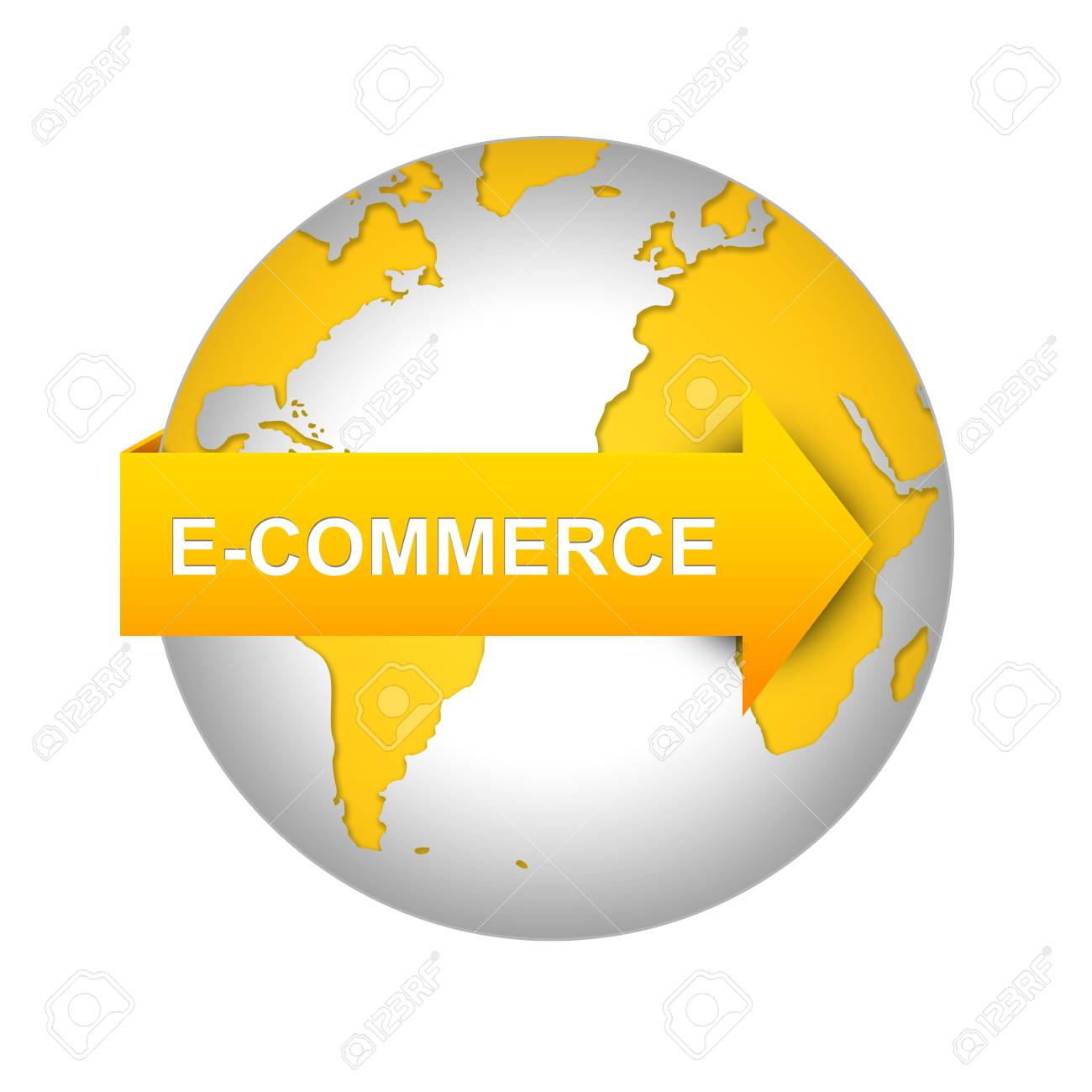 E-Commerce and Online Shopping Concept, Orange E-Commerce Arrow On The World Isolated on White Background Stock Photo - 17608833