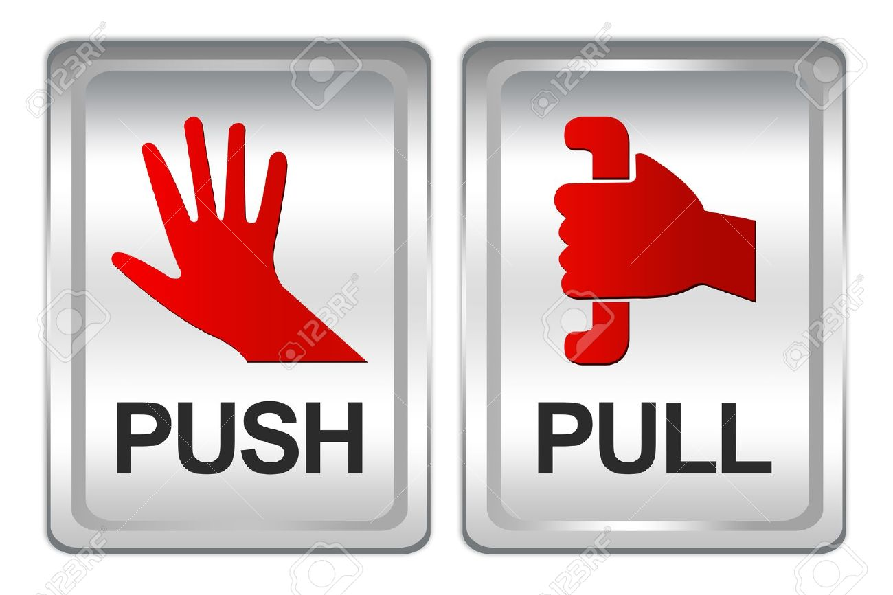 Push And Pull Sign With Square Silver Metallic Plate Isolate ...