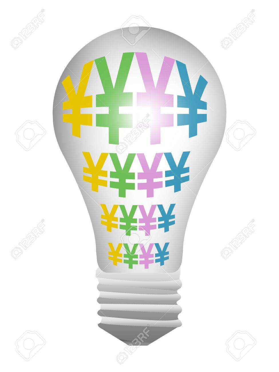 Light Bulb With Currency Symbols Japanese Yen Or Chinese Yuan