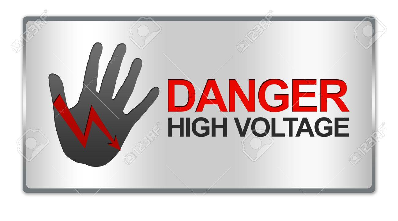 Rectangle Silver Metallic Style Plate For Danger High Voltage ...