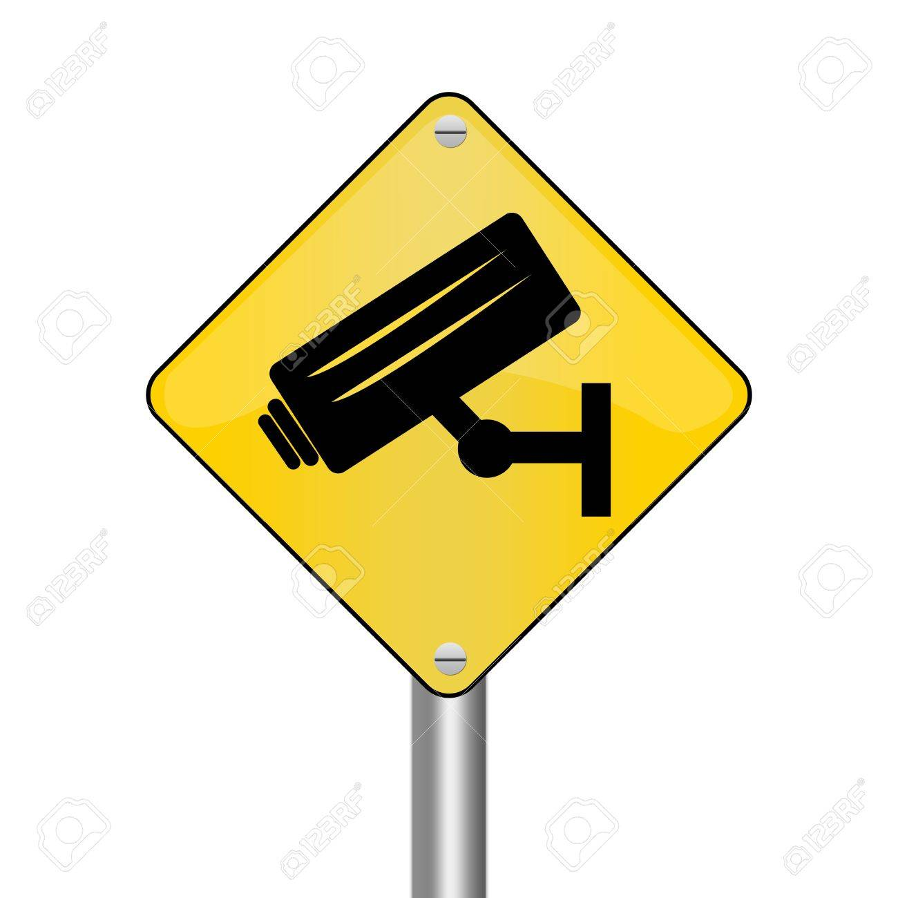 Yellow Rhombus Road Sign For No Trespassing With CCTV Sign Isolated on White Background Stock Photo - 17928092