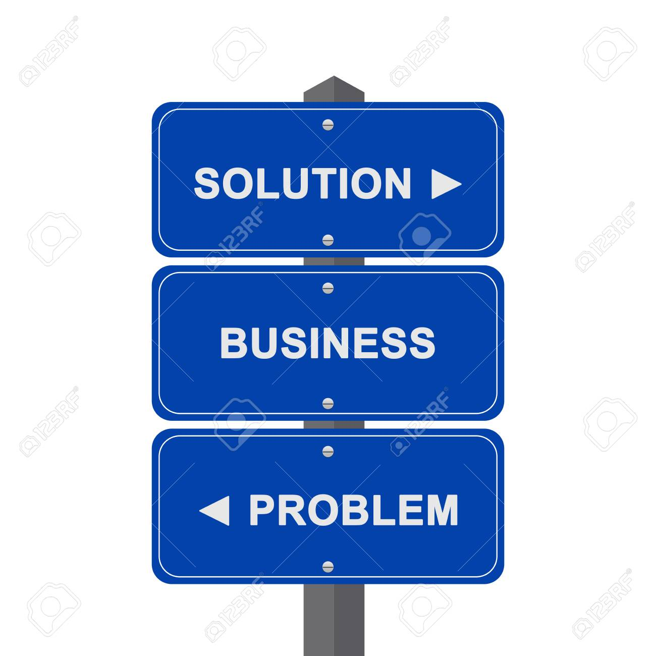 Business Concept Present By Blue Street Sign Pointing to Solution, Business And Problem Isolated On White Background Stock Photo - 17979055