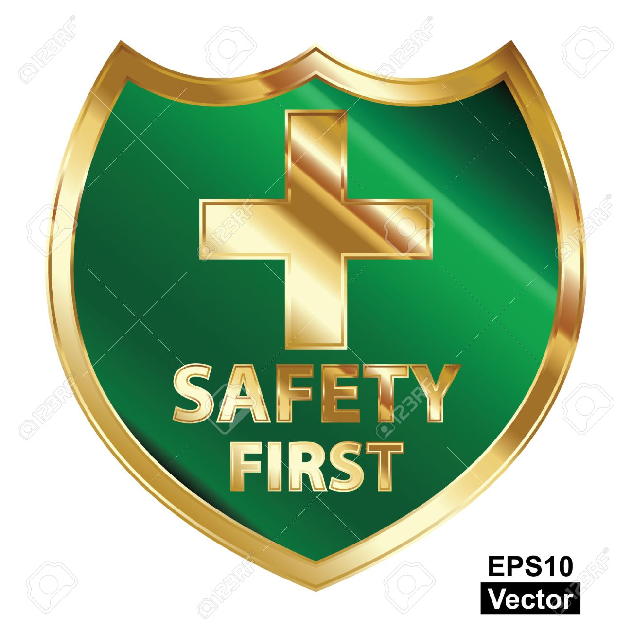 Vector, Safety First Concept, Green and Golden Metallic Style Shield With Golden Cross Sign and Safety First Text Isolated on White Background Stock Vector - 24016511
