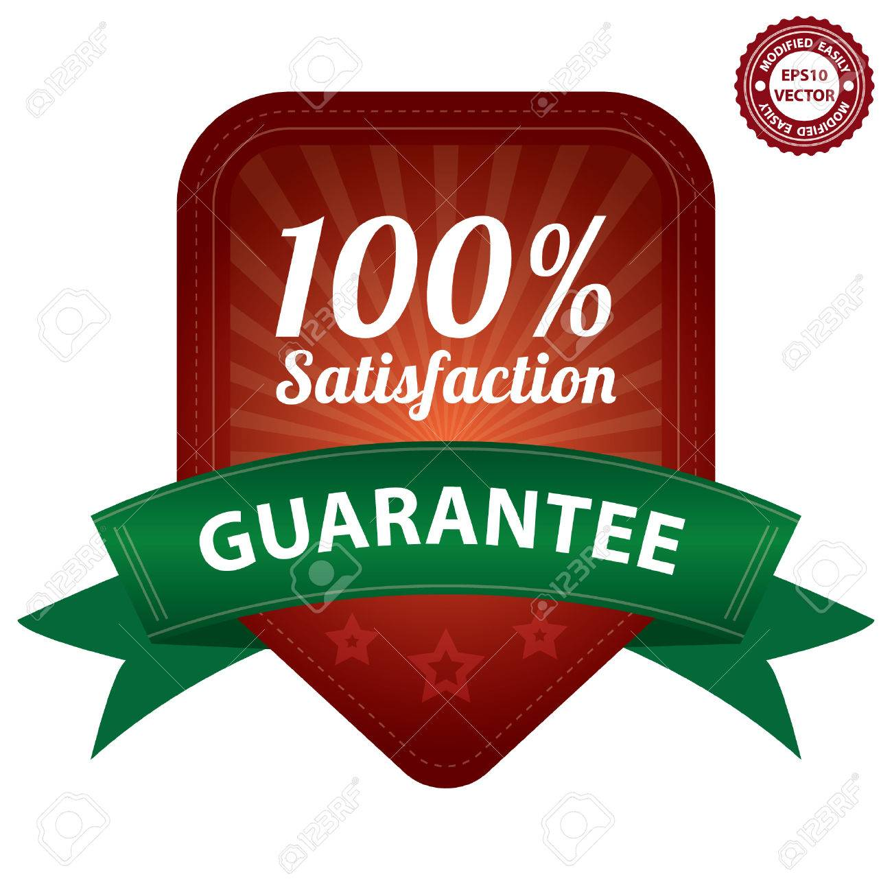 Vector, Red 100 Percent Satisfaction Guarantee Sticker, Label, Stamp, Badge or Icon  forQuality Management Systems, Quality Assurance and Quality Control Concept Isolated on White Background Stock Vector - 24029177