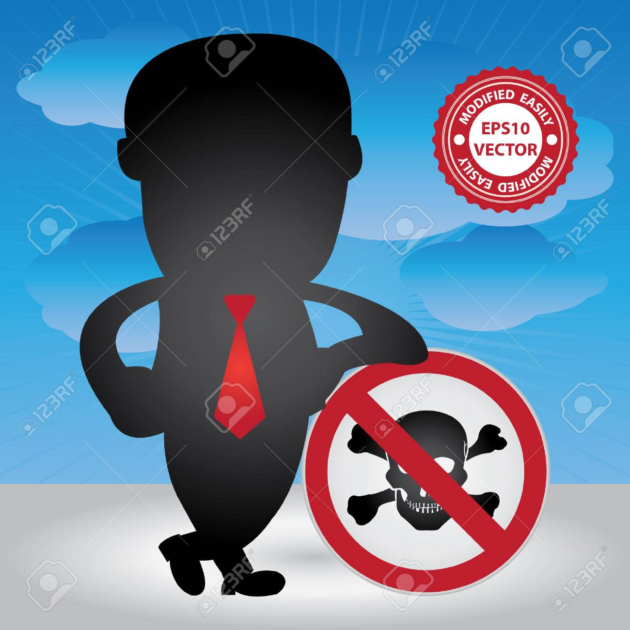 Vector, Business Management or Business Solution Concept Present By Businessman Lean Against The Danger Traffic Sign in Blue Sky Background Stock Vector - 24017143