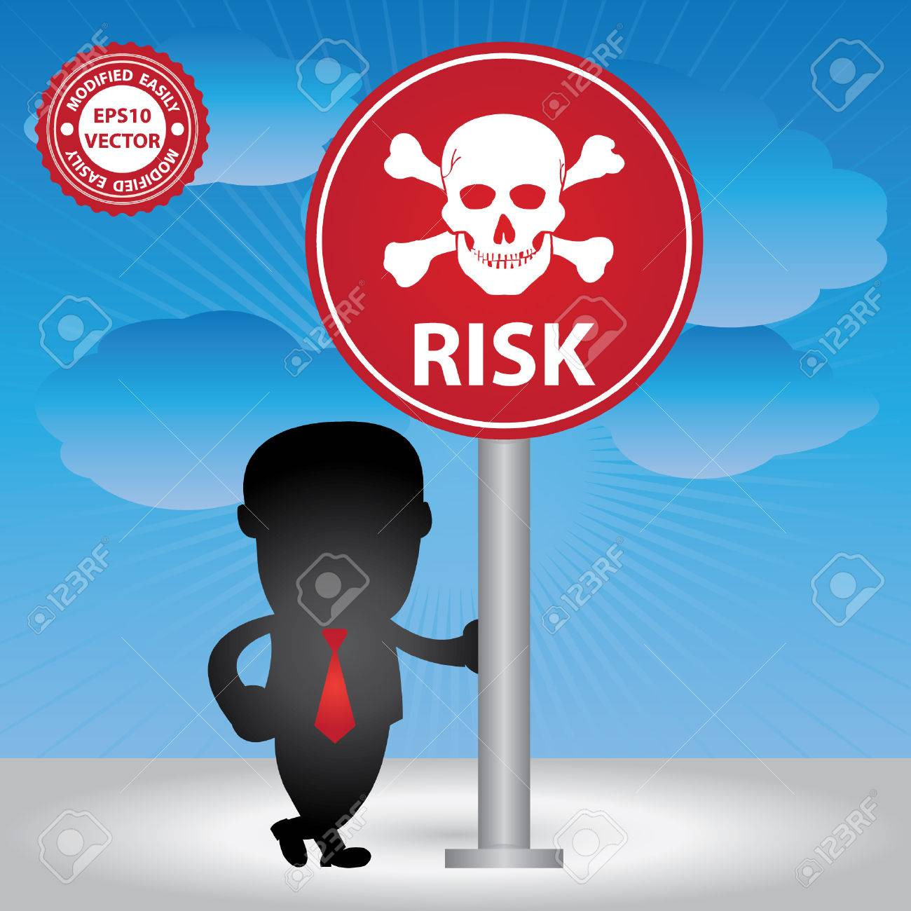 Vector, Business Management or Business Solution Concept Present By Businessman and Risk Traffic Sign  in Blue Sky Background Stock Vector - 24017144