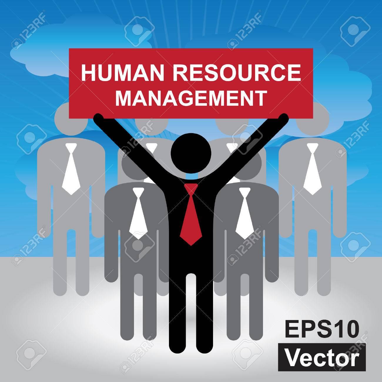 vector job seeker job career concept present by group of vector vector job seeker job career concept present by group of businessman red human resource management sign on hand in blue sky background